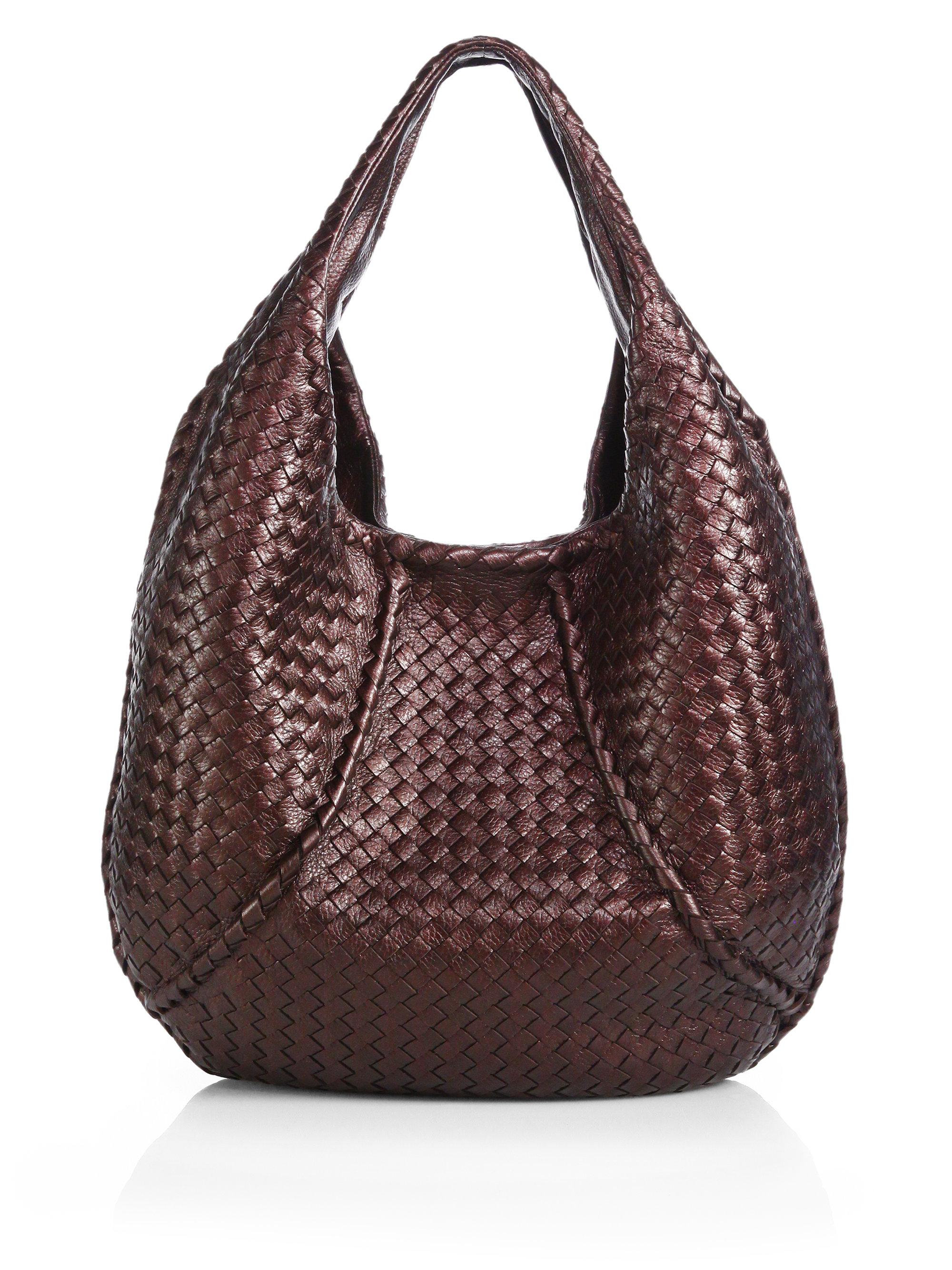 b3ee1cc06037 Lyst - Bottega Veneta Metallic Woven Leather Hobo in Brown