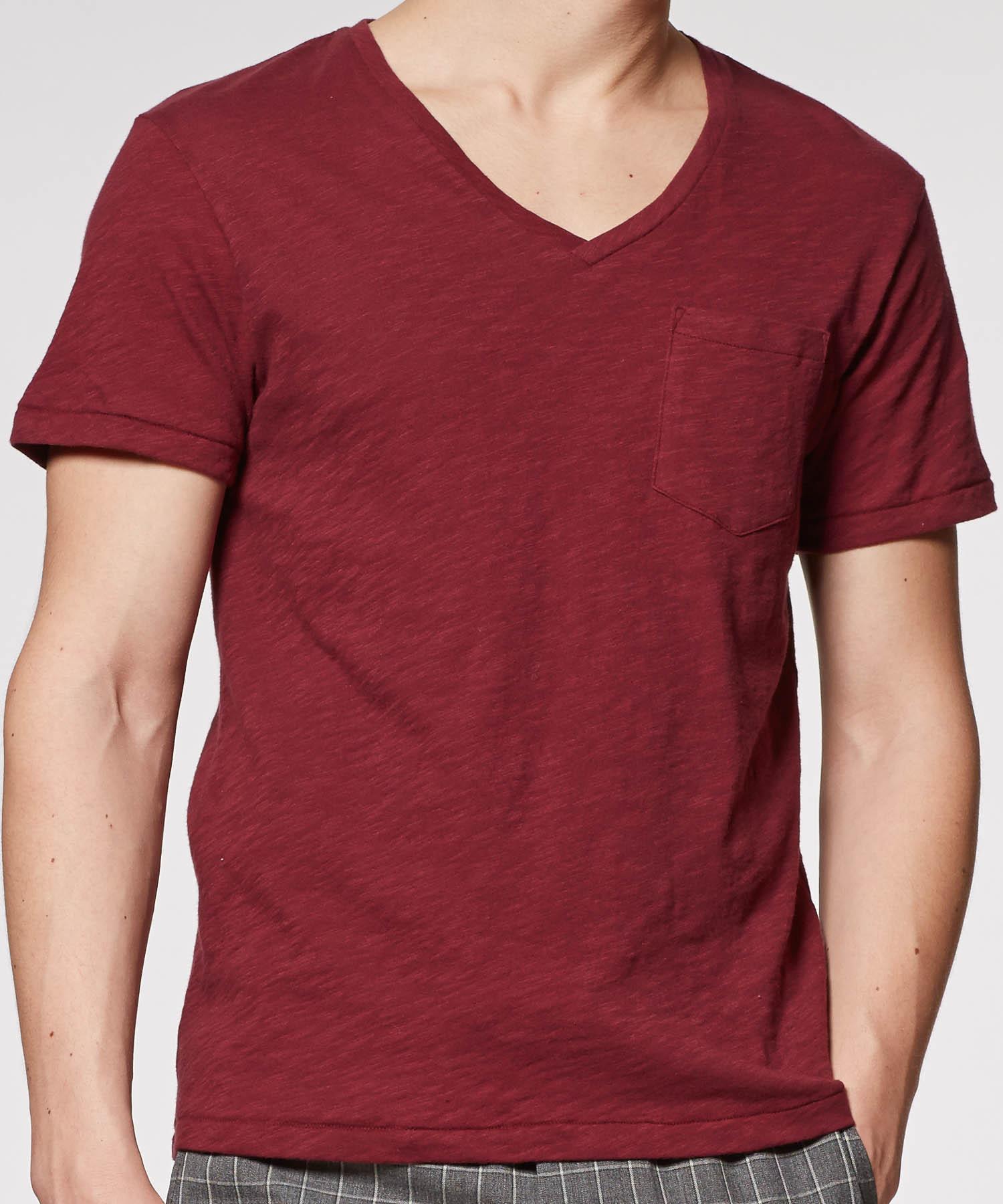 Todd snyder maroon pocket v neck t shirt in purple for men for Maroon t shirt for men