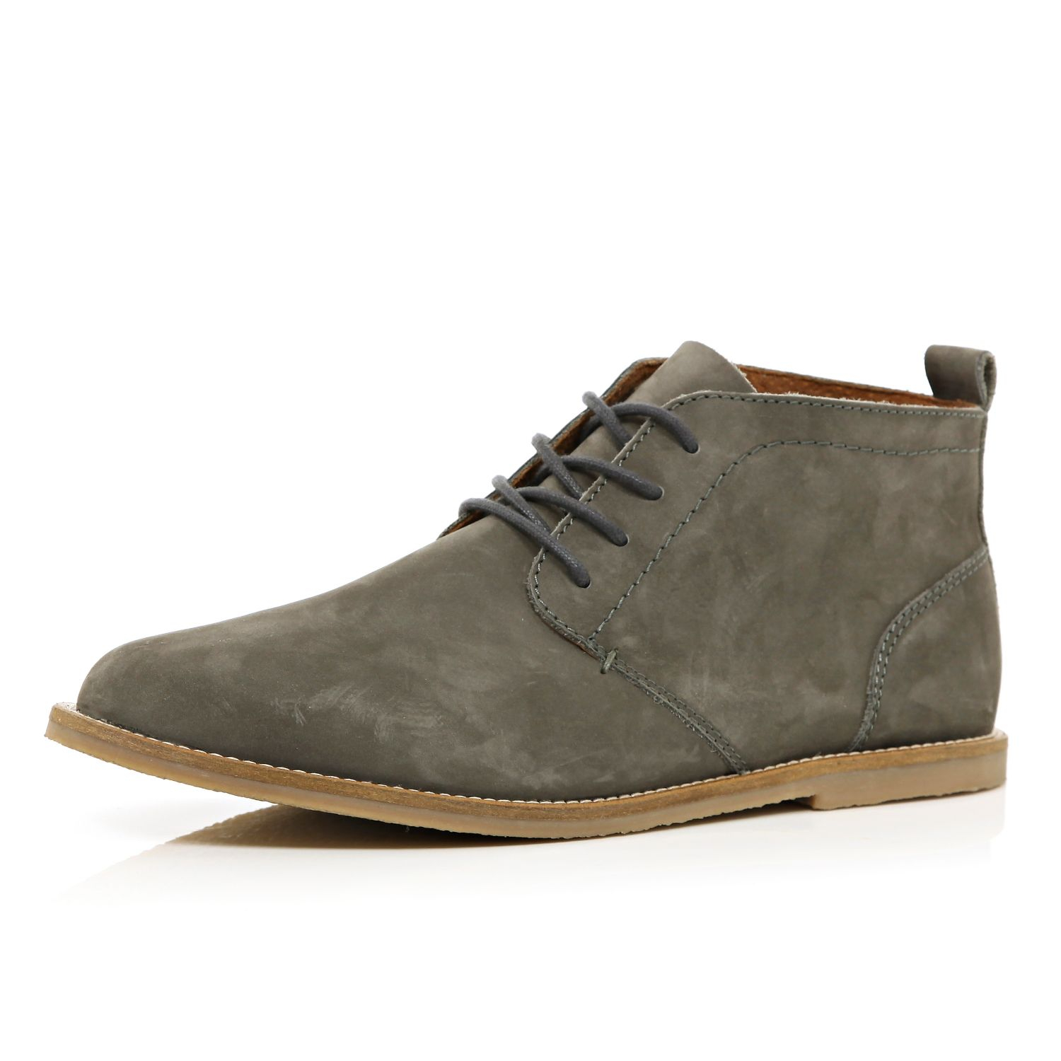 River island Grey Nubuck Chukka Boots in Gray for Men | Lyst