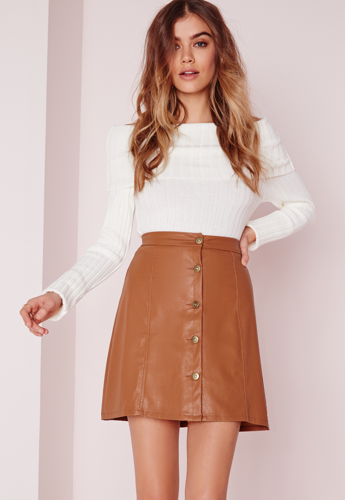 Leather Button Skirt | Jill Dress