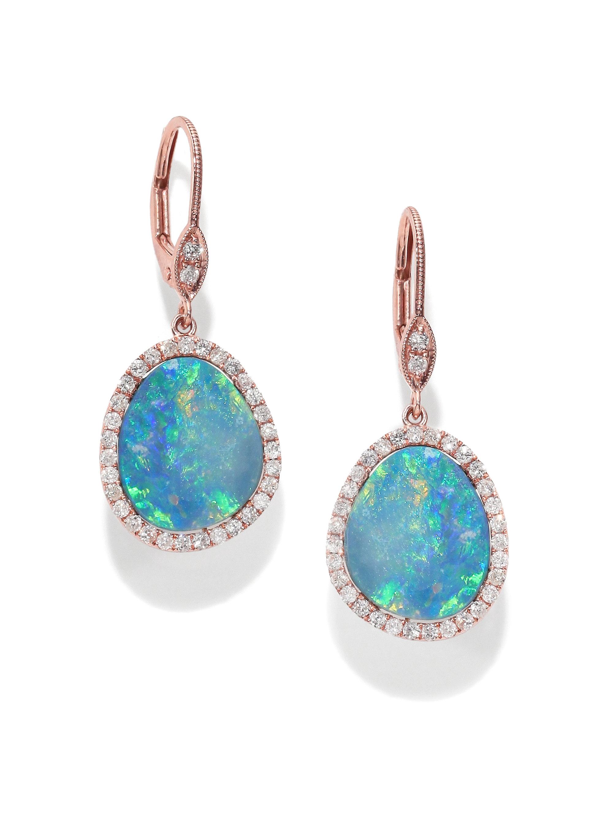 Unique Lyst - Meira T Opal, Diamond & 14k Rose Gold Drop Earrings in Blue WB48