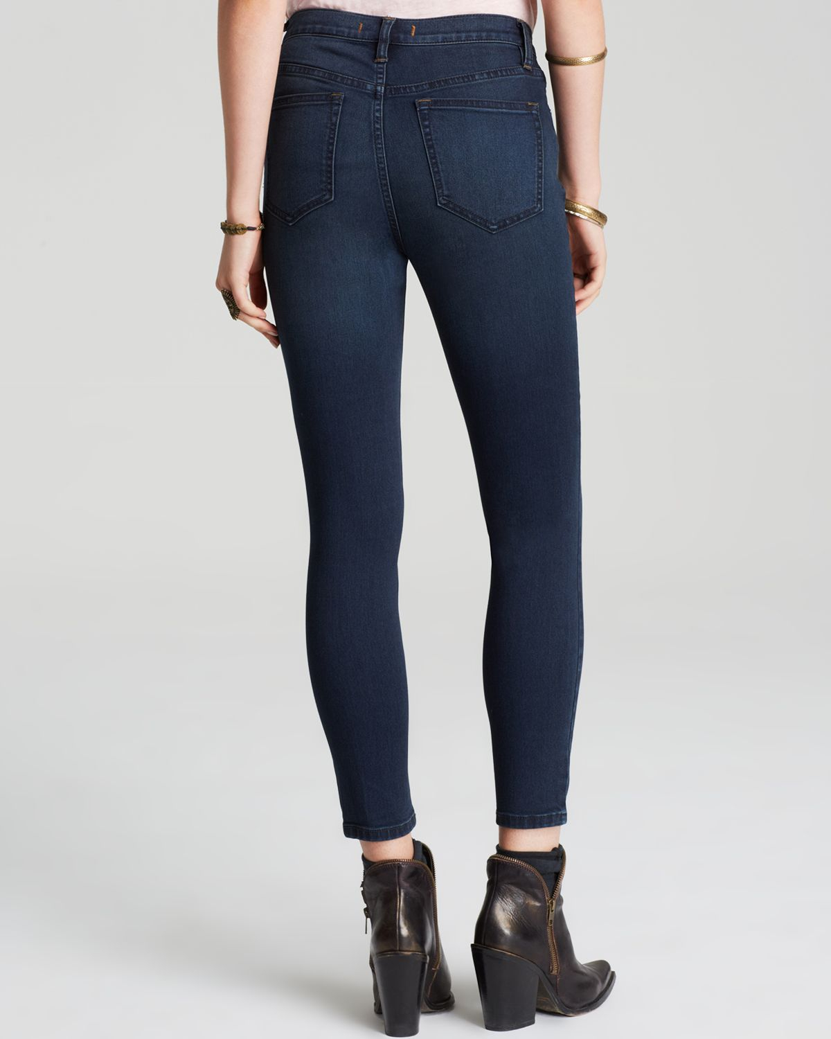 free people jeans high rise roller crop skinny in cane