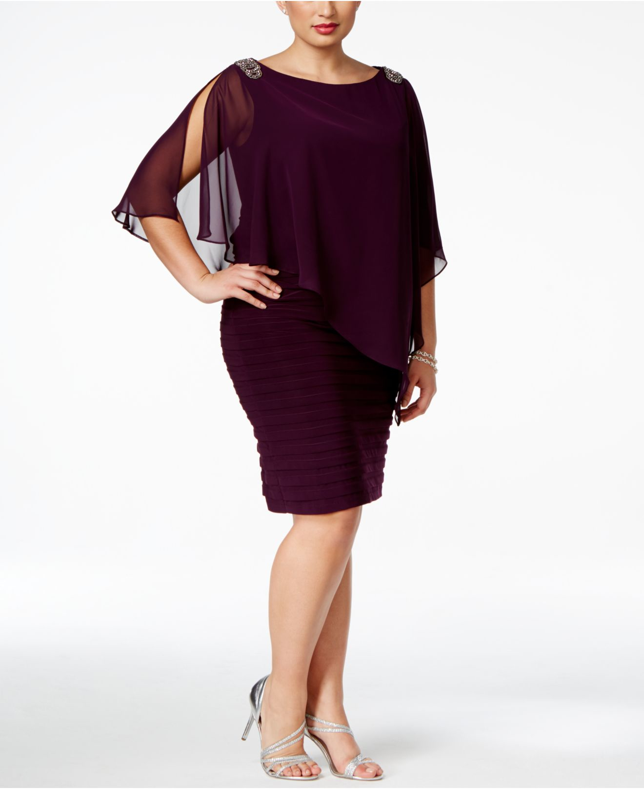 ab15a9cd8cf Xscape Plus Size Embellished Chiffon Overlay Dress in Purple - Lyst