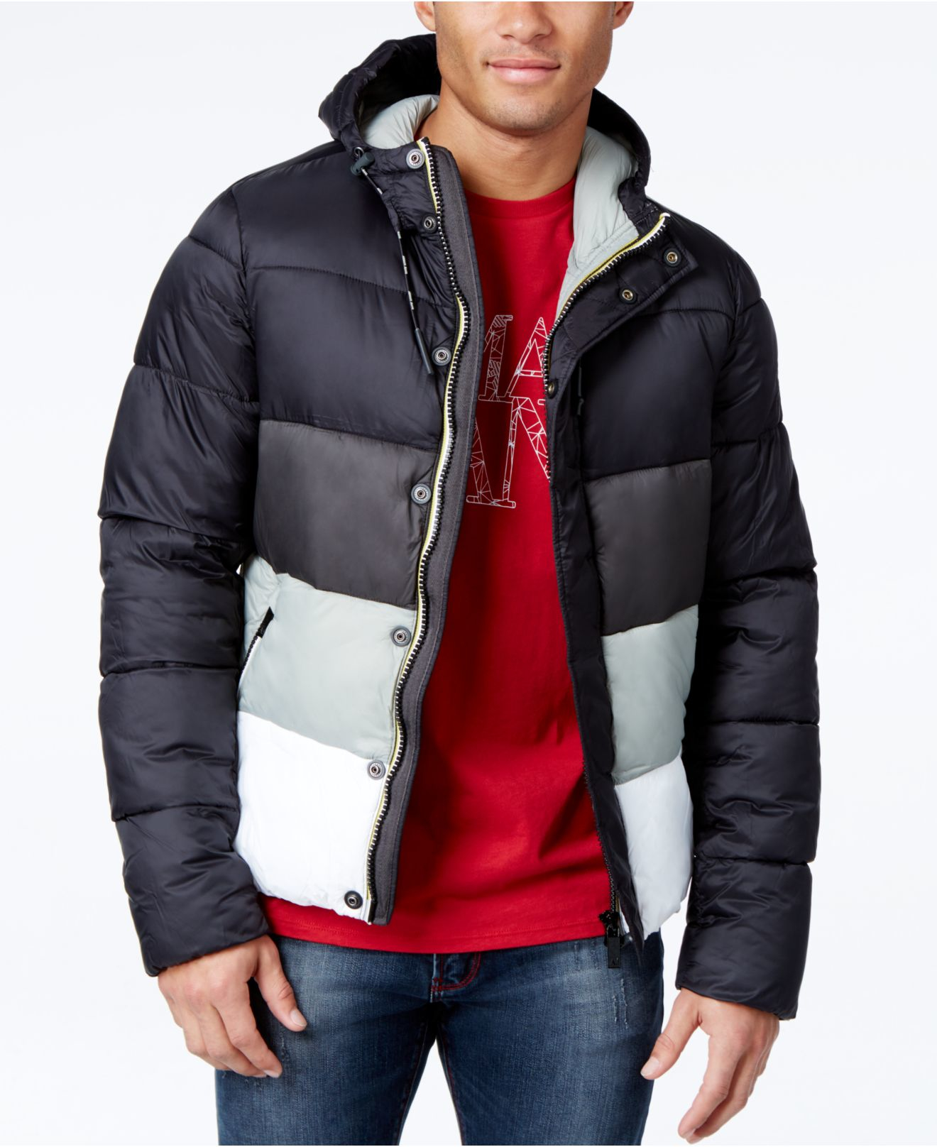 b9f68b8c4e Black Men Armani Jeans Puffer Colorblock For With Lyst Coat In Hood UZqaBw8B