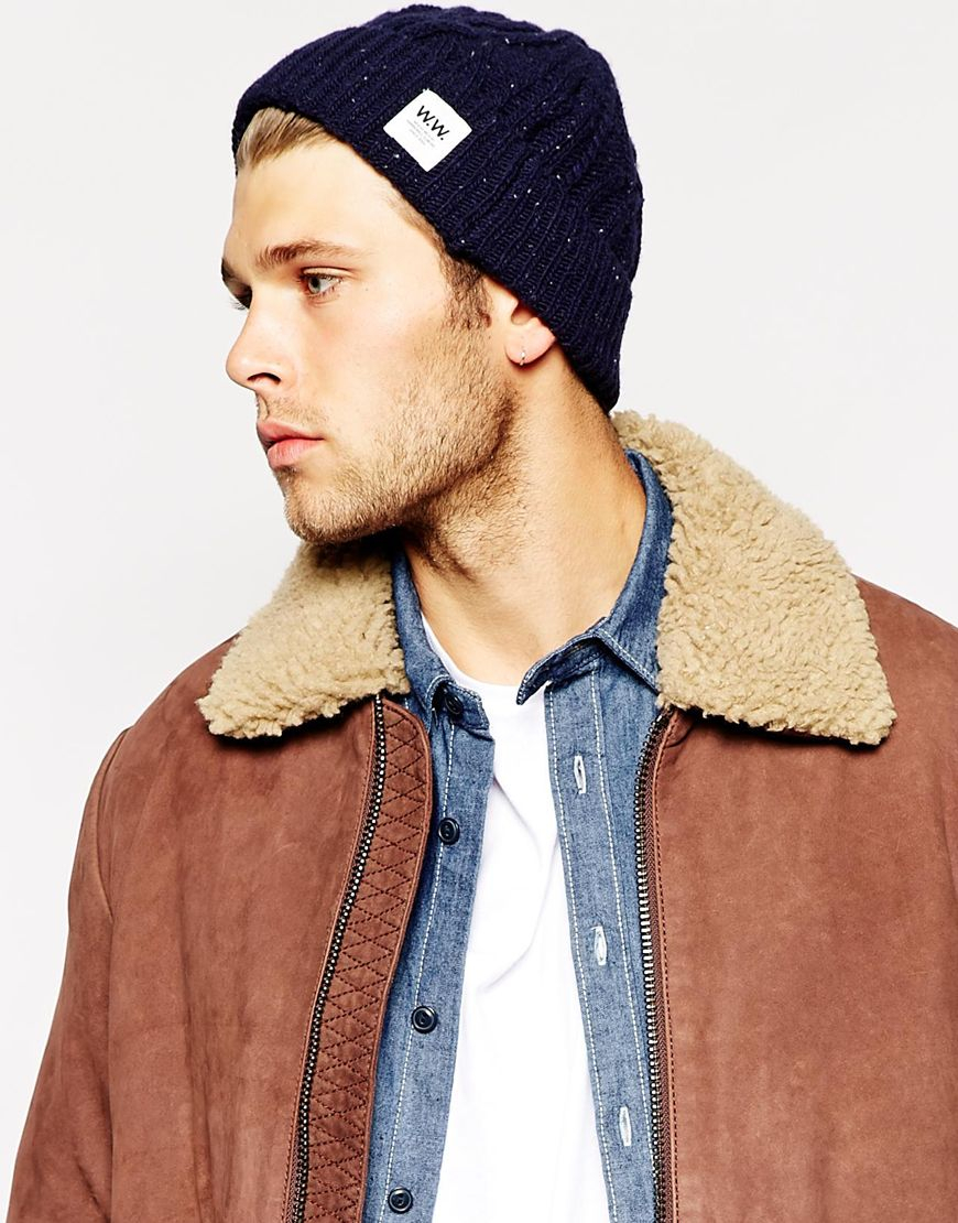 701e72d3c WOOD WOOD Cable Beanie Hat in Blue for Men - Lyst
