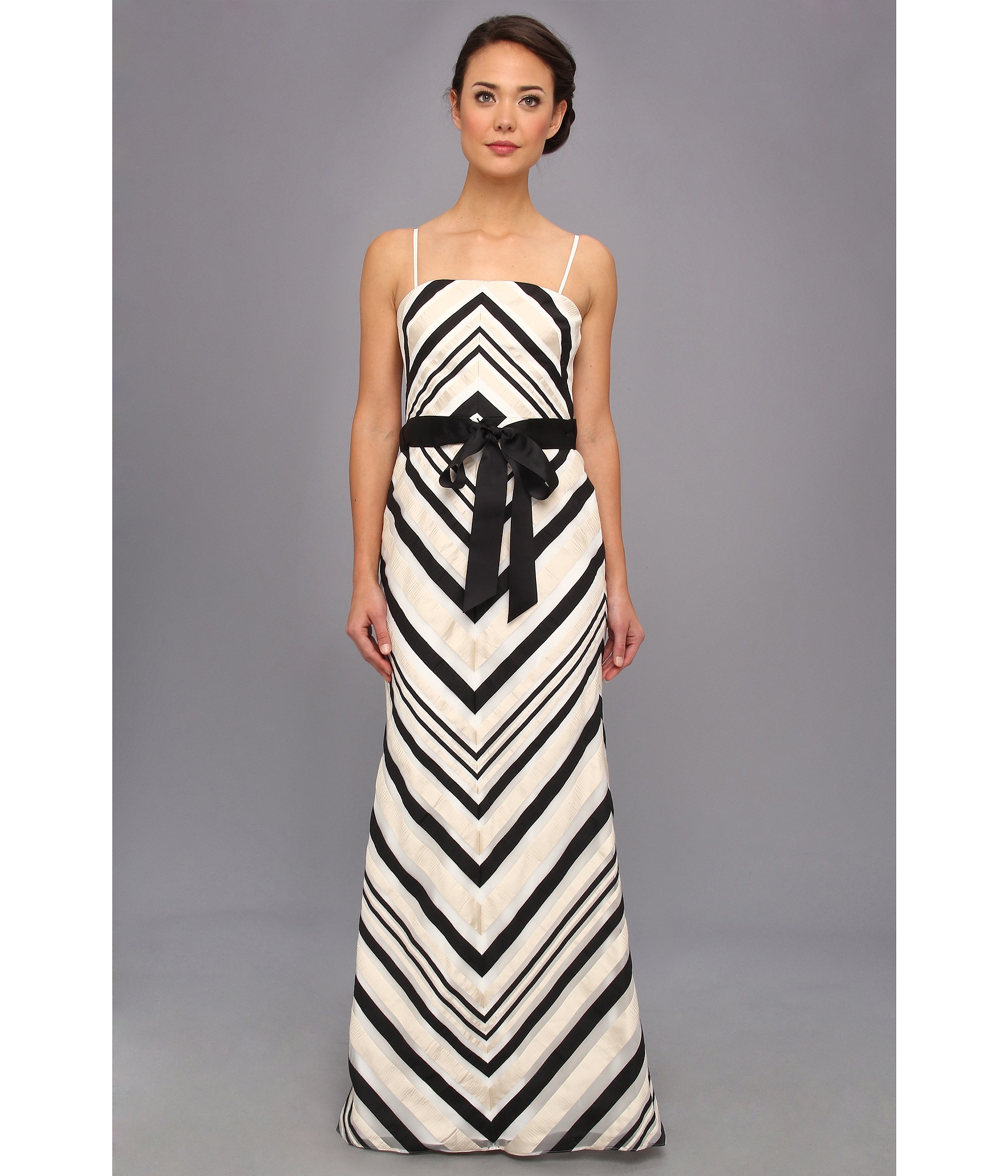 Lyst - Adrianna Papell Ribbon Striped Ball Gown W Sash in Black