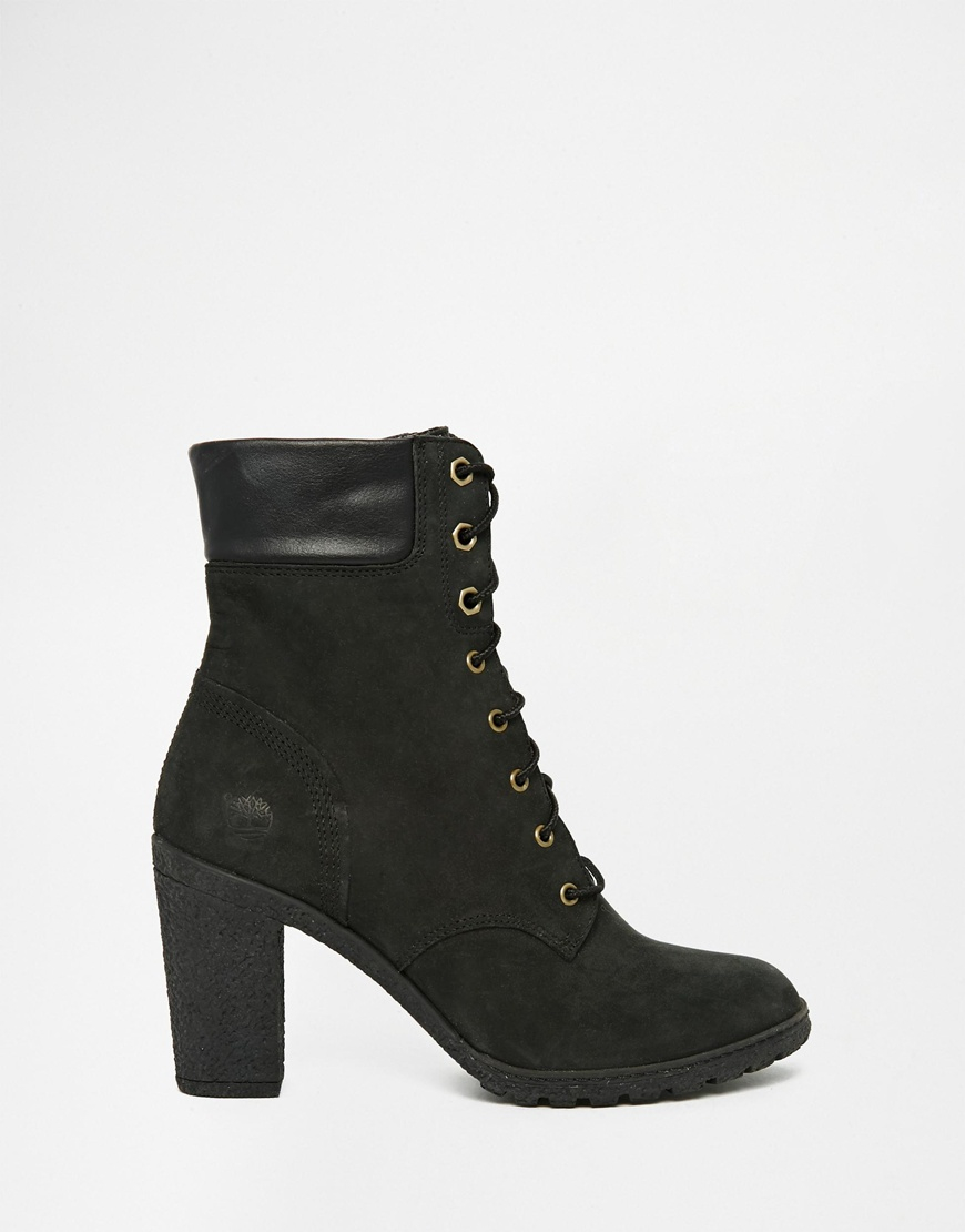 timberland glancy black 6 inch heeled boots in black lyst