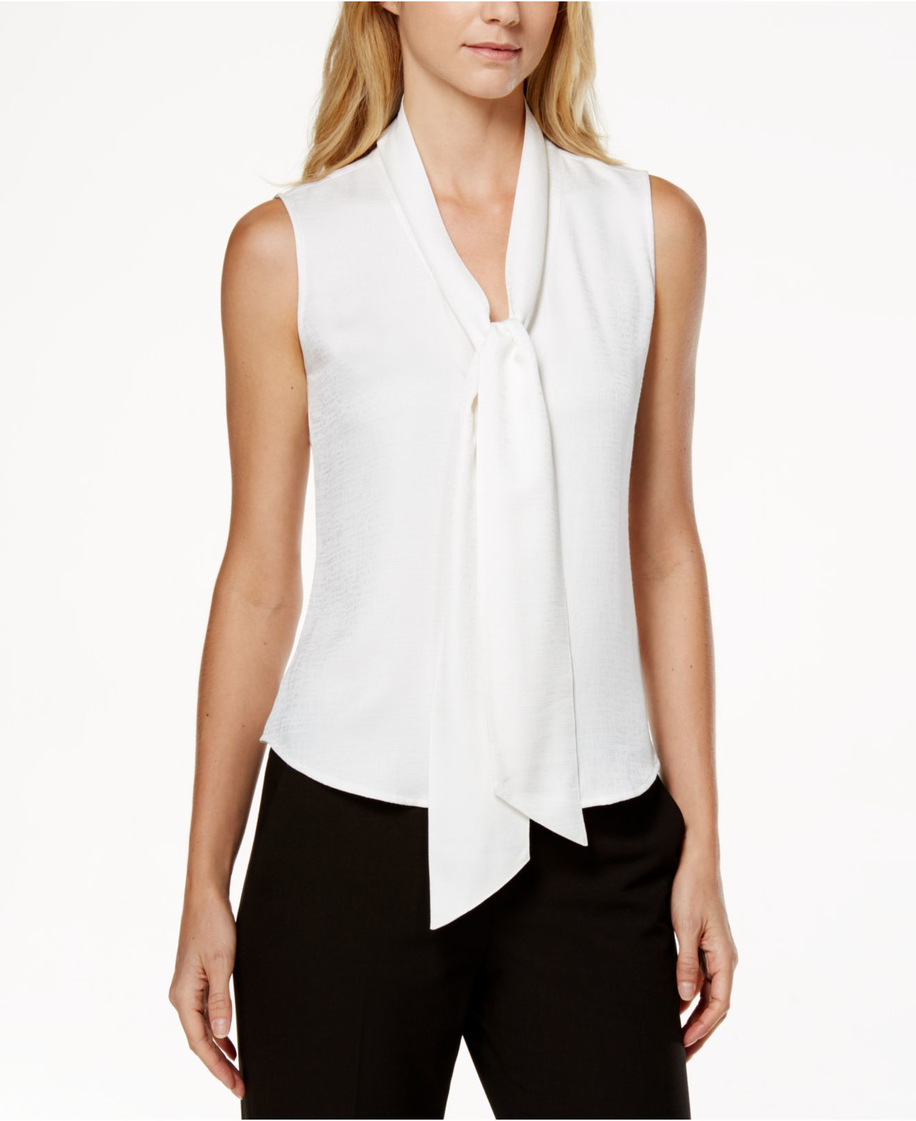 Lyst Calvin Klein Sleeveless Tie Neck Blouse In White