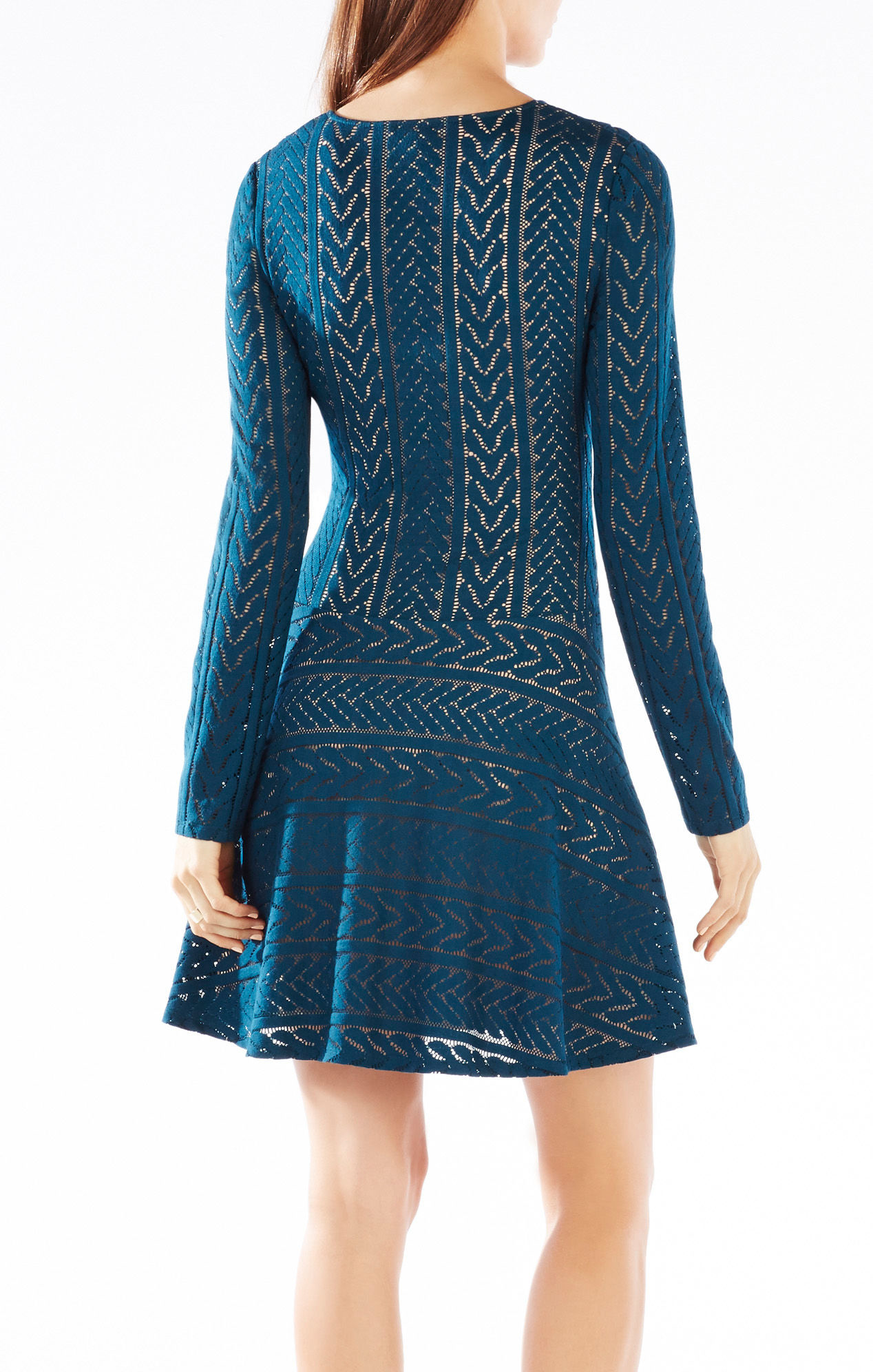 Teal dark lace dress catalog photo