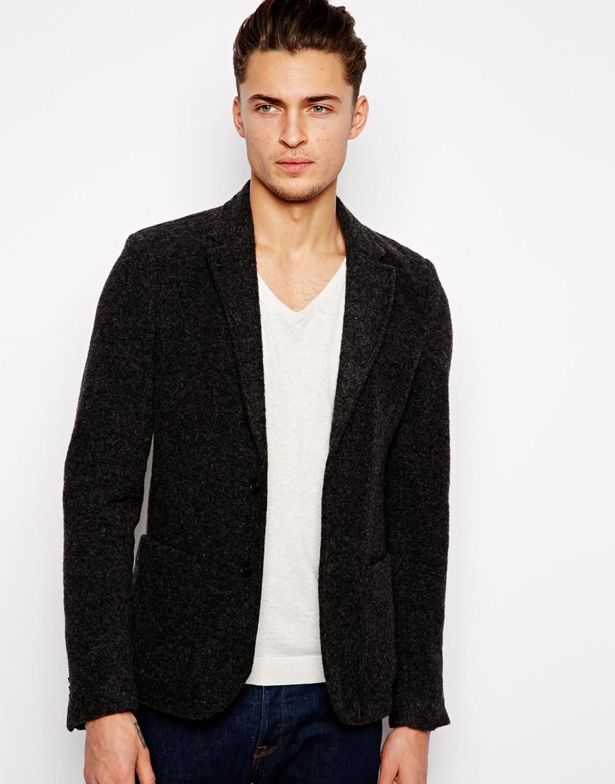 Pull Bear Jersey Blazer In Gray For Men Lyst