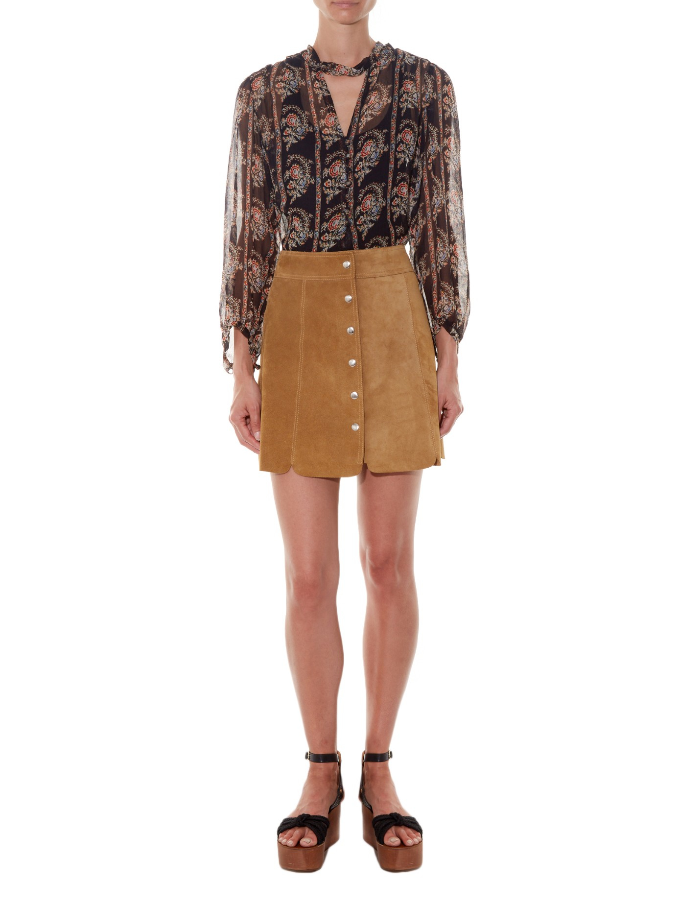 21470529c8 Étoile Isabel Marant Anna Suede Skirt in Natural - Lyst