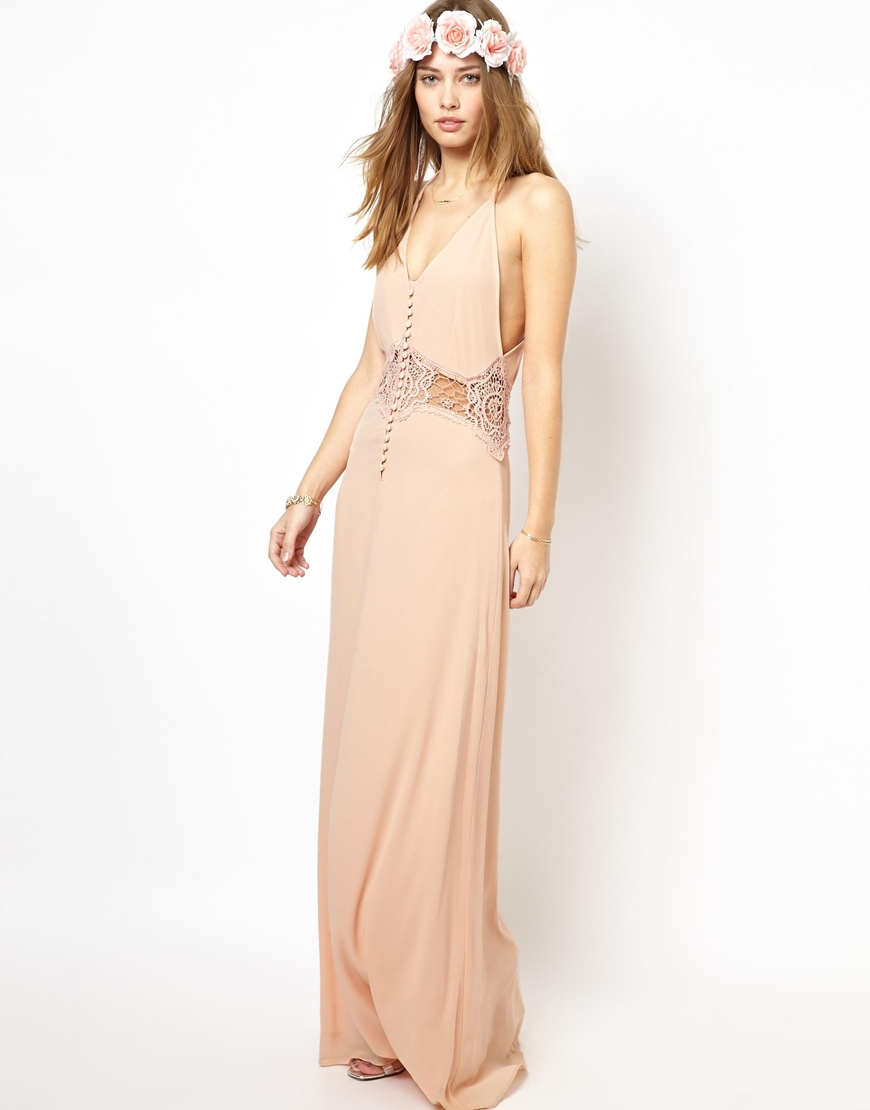 jarlo cami strap maxi dress with lace insert in pink lyst. Black Bedroom Furniture Sets. Home Design Ideas