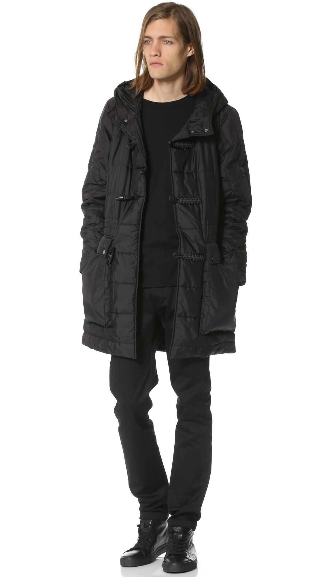 Christopher raeburn Quilted Duffle Coat in Black for Men | Lyst