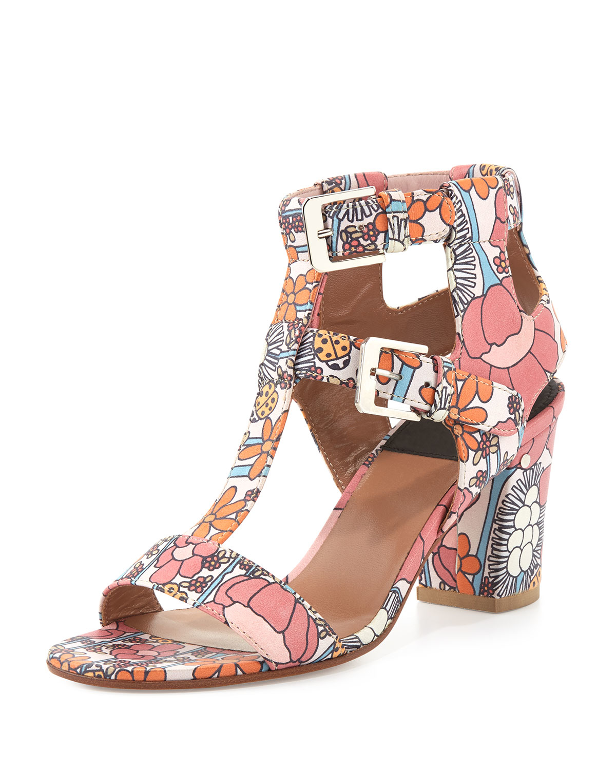 e17612bb195 Lyst - Laurence Dacade Diane Leather Floral-Print Sandals in Pink
