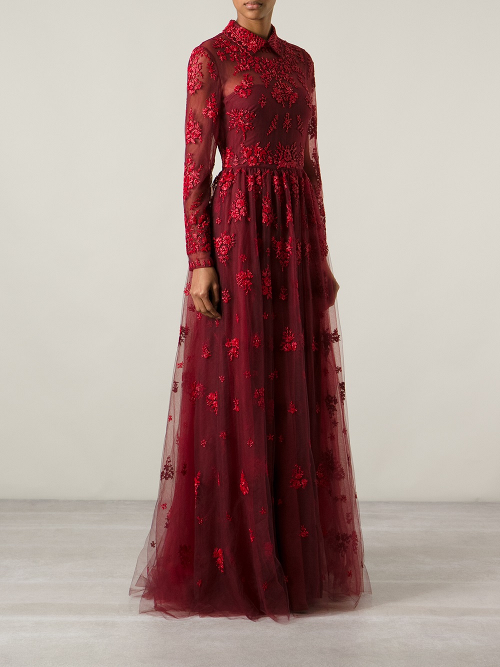 Lyst - Valentino Beaded Evening Dress in Red