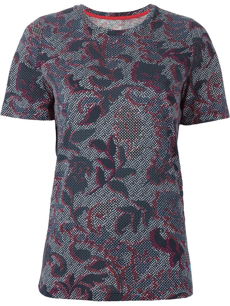 Lyst tory burch printed t shirt in blue for Tory burch t shirt