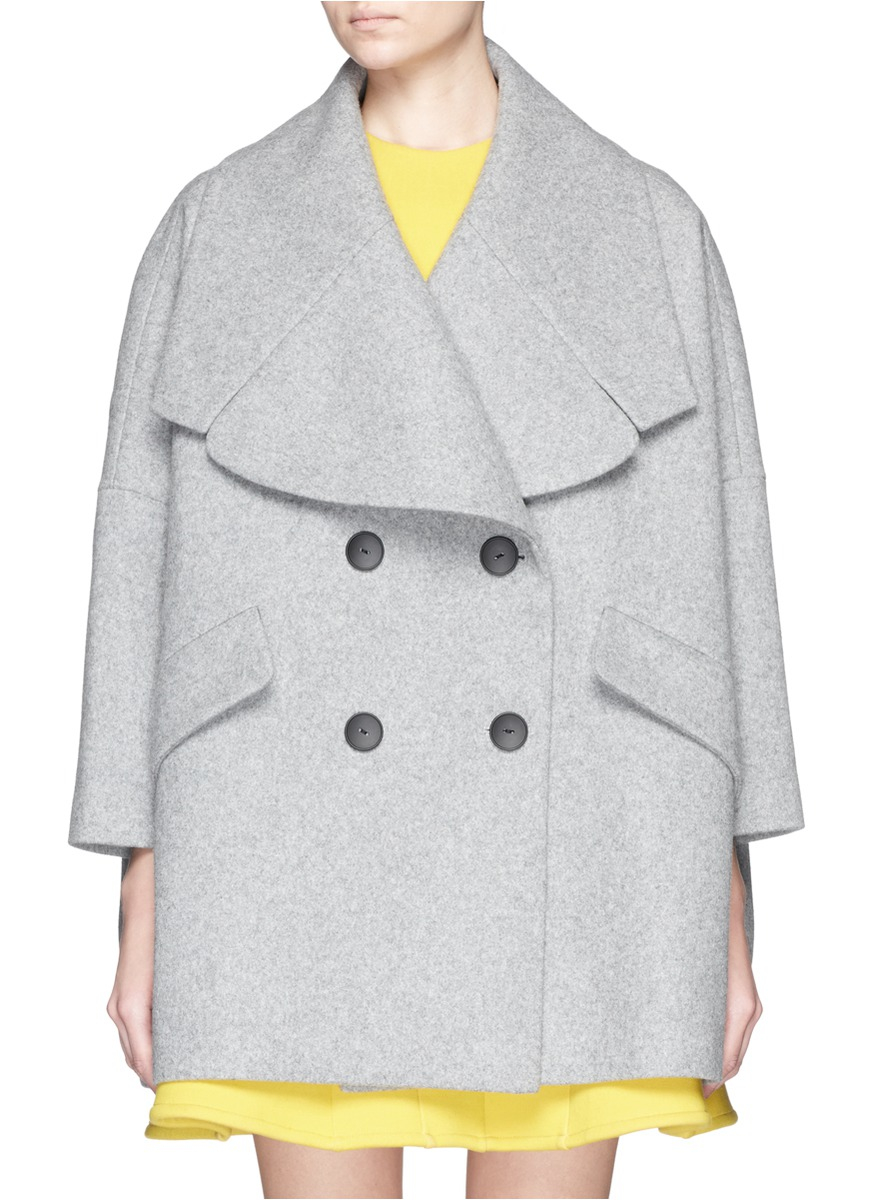 Chictopia Wide Lapel Oversize Wool Felt Short Coat in Gray | Lyst