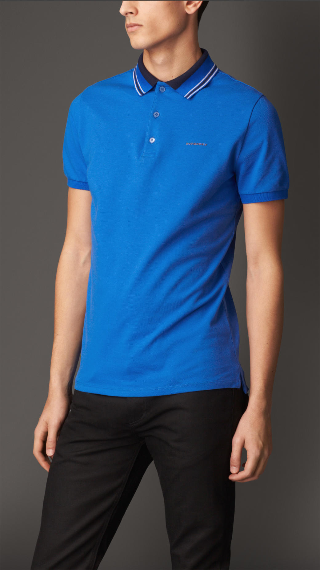 Lyst Burberry Striped Collar Polo Shirt In Blue For Men