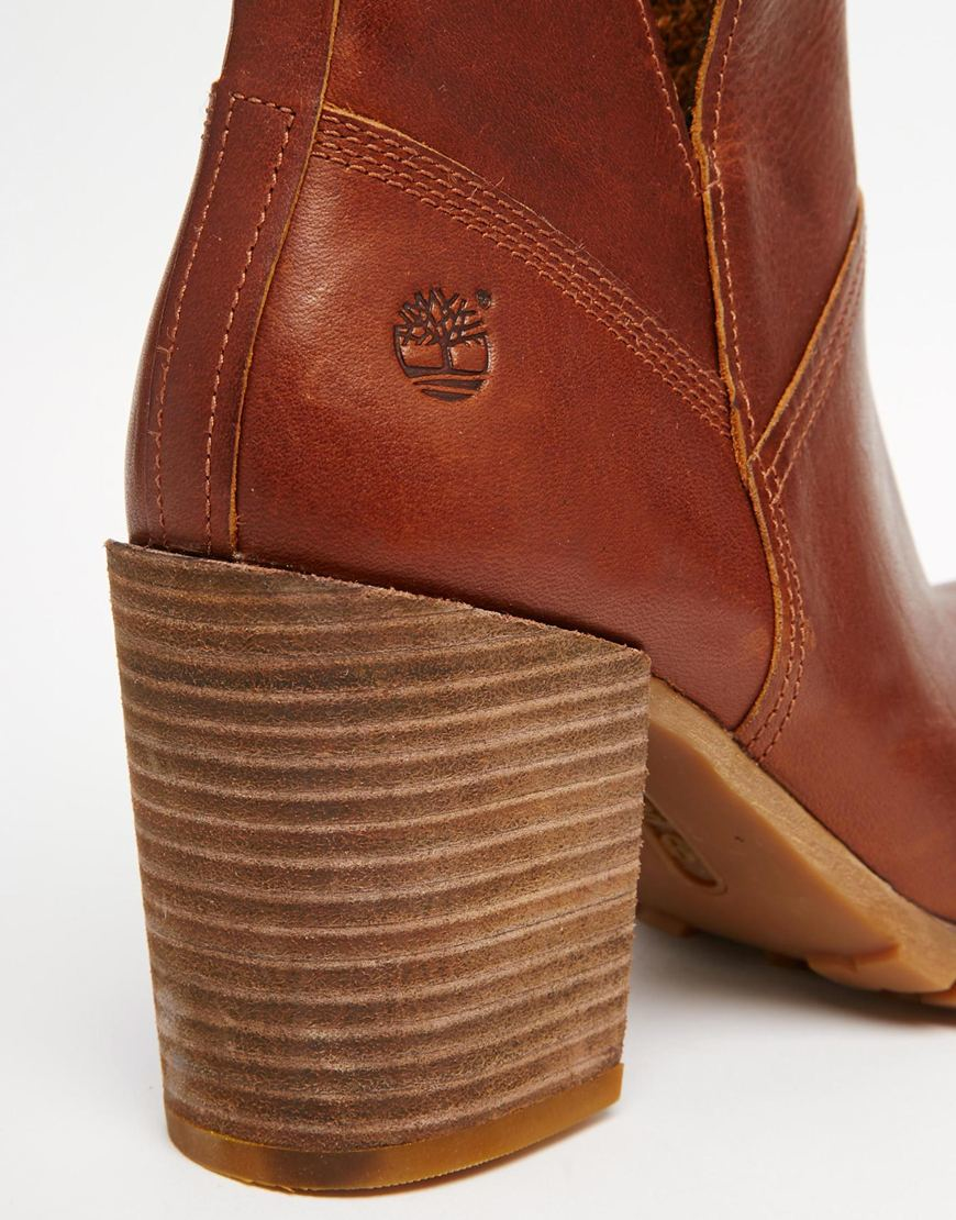 Timberland Brown Swazey Beige Heeled Ankle Boots