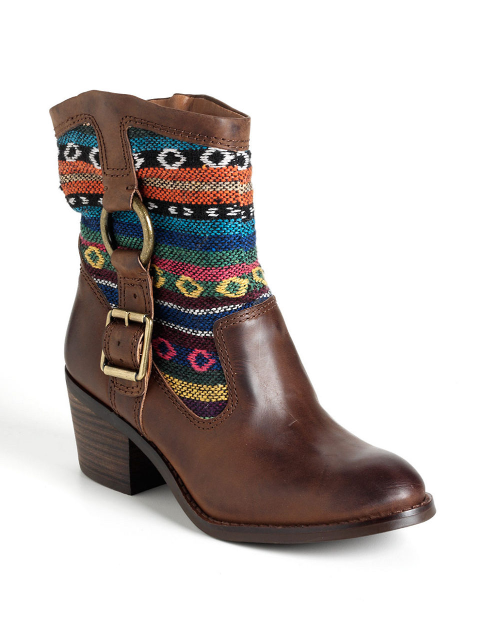 lucky brand boxer ankle boots in brown brown leather lyst
