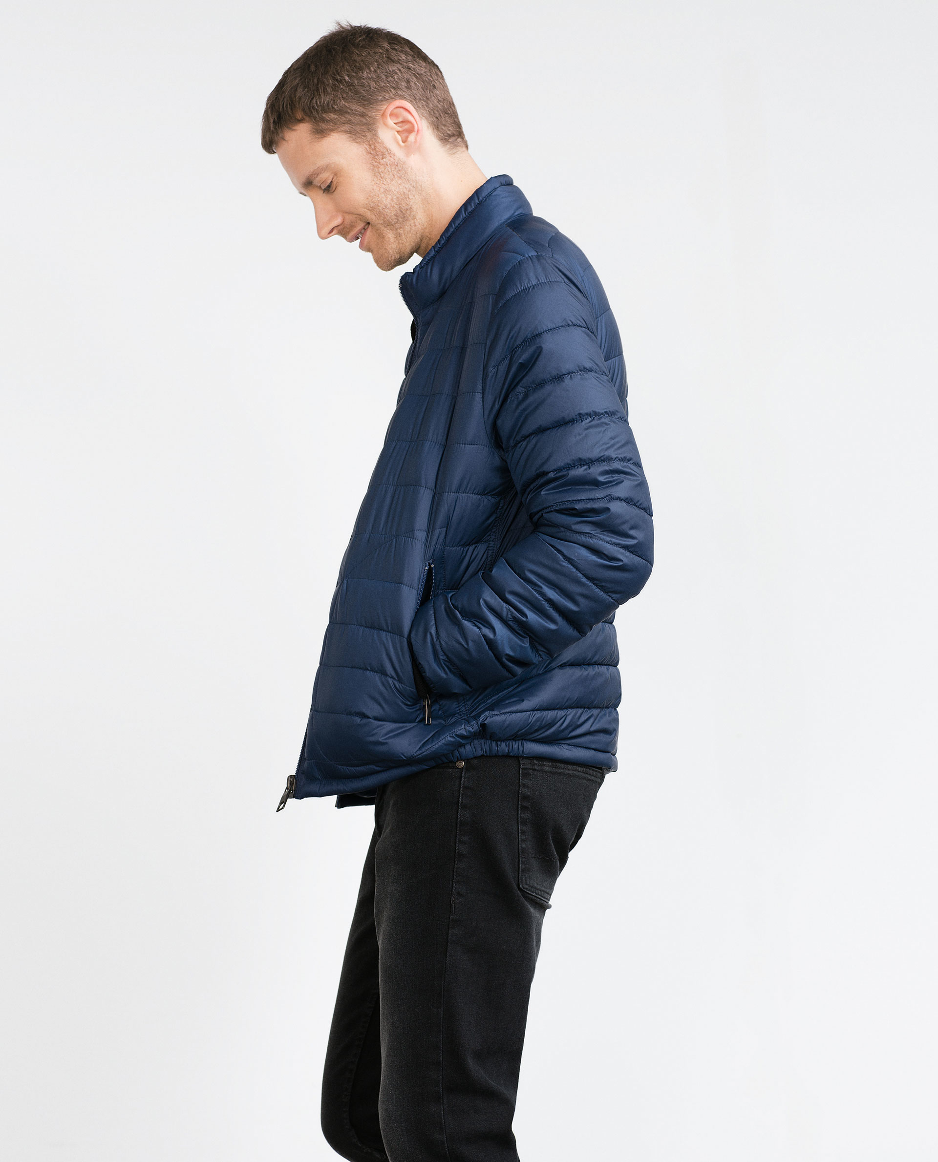 Zara Lightweight Padded Jacket in Blue for Men | Lyst