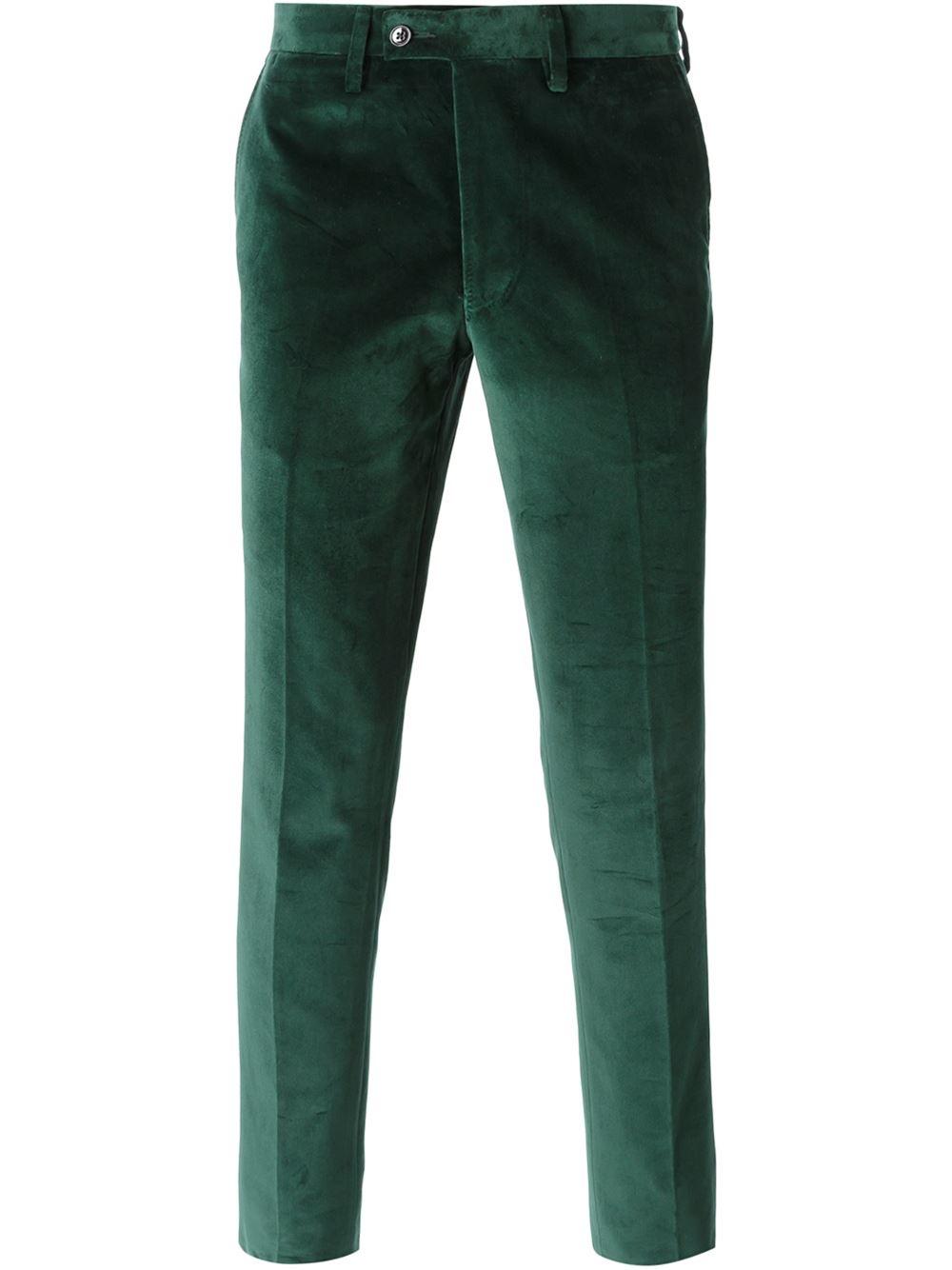 Lyst Mp Massimo Piombo Velvet Trousers In Green For Men