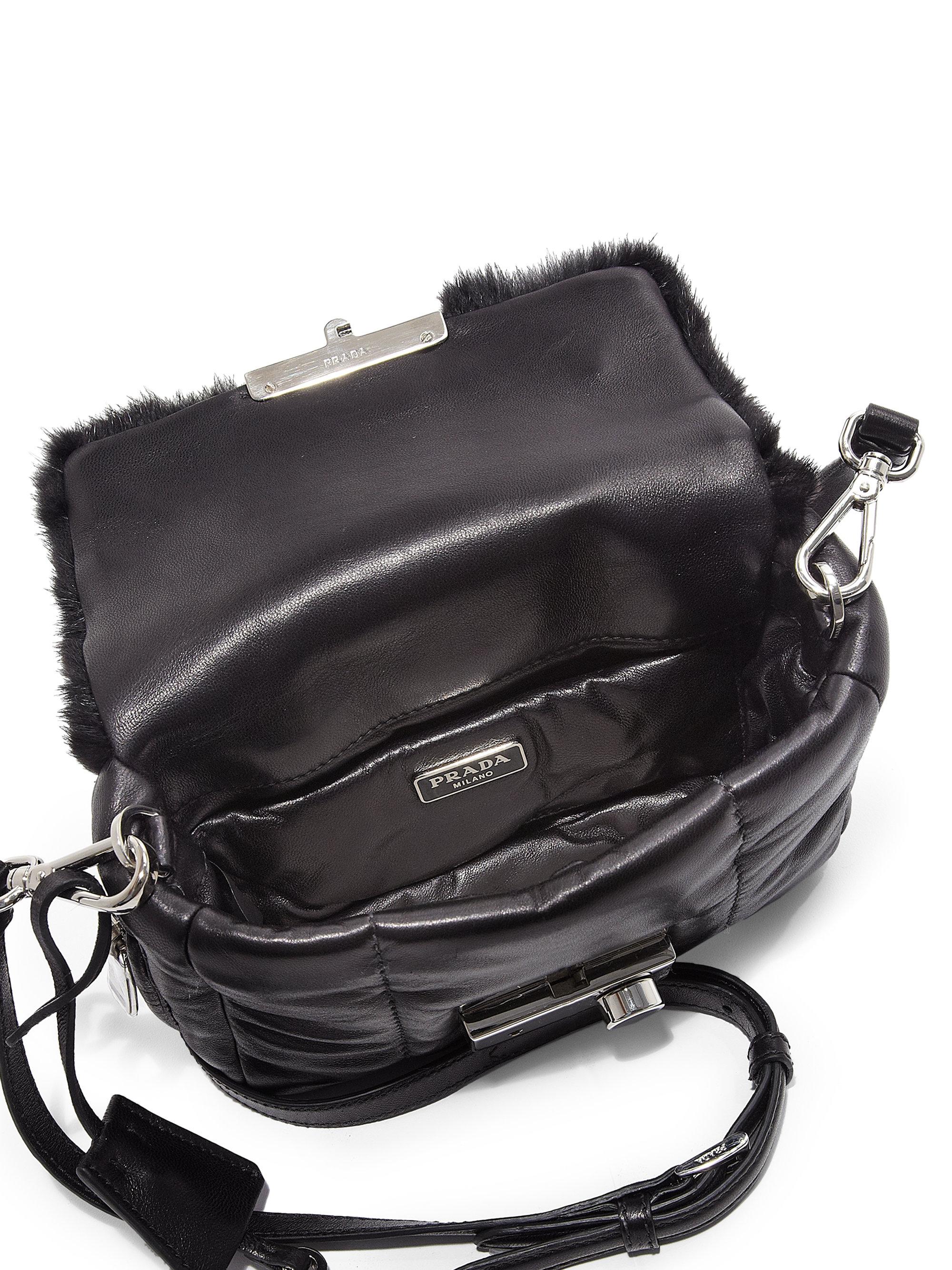 Prada Nappa Bomber Mink Fur Small Crossbody Bag in Black (NERO ...