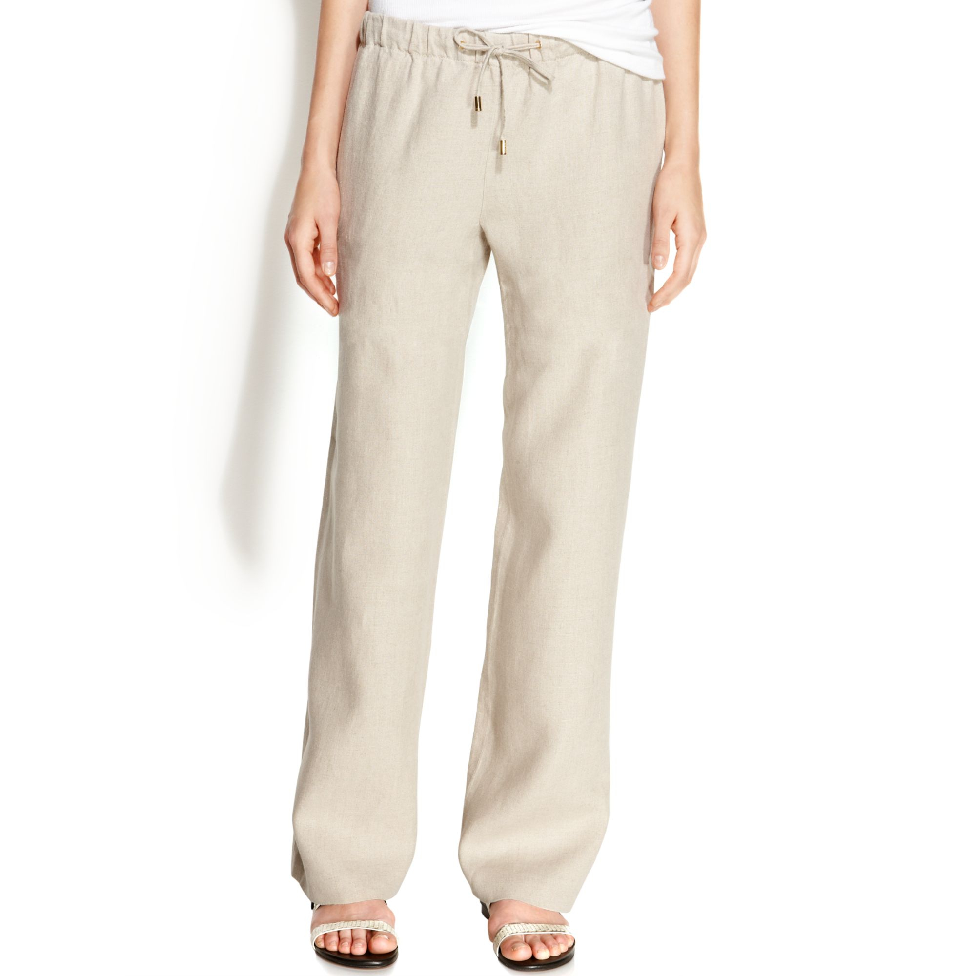 Michael kors Michael Petite Drawstring Linen Wide Leg Pants in ...