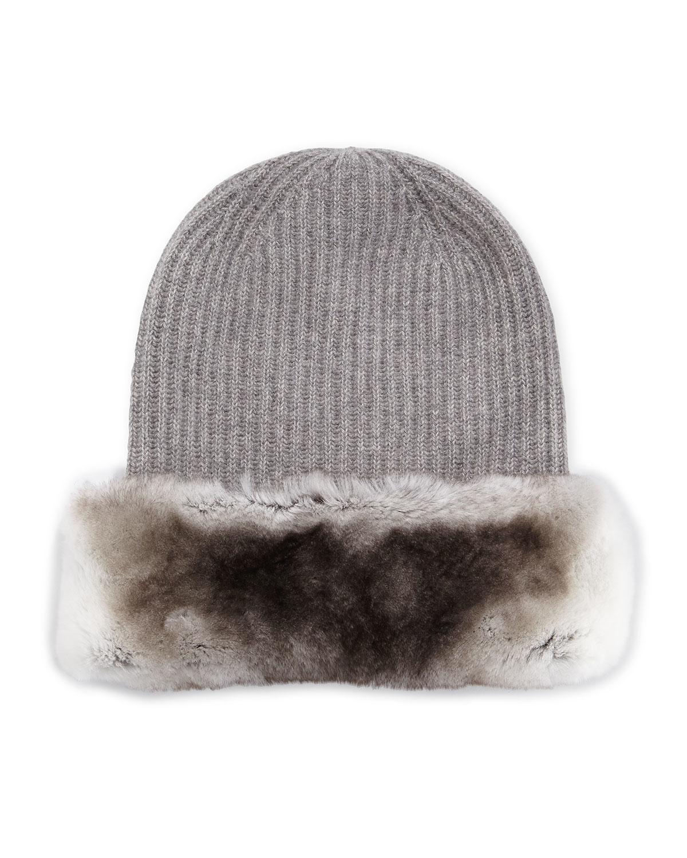 51b437110957b0 Max Mara Fur-Trimmed Knit Beanie Hat in Gray for Men - Lyst