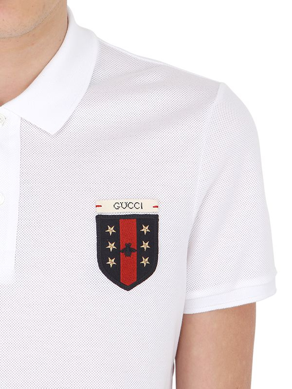 3c94fa731 Gucci Crest Patch Stretch Cotton Piqué Polo in White for Men - Lyst