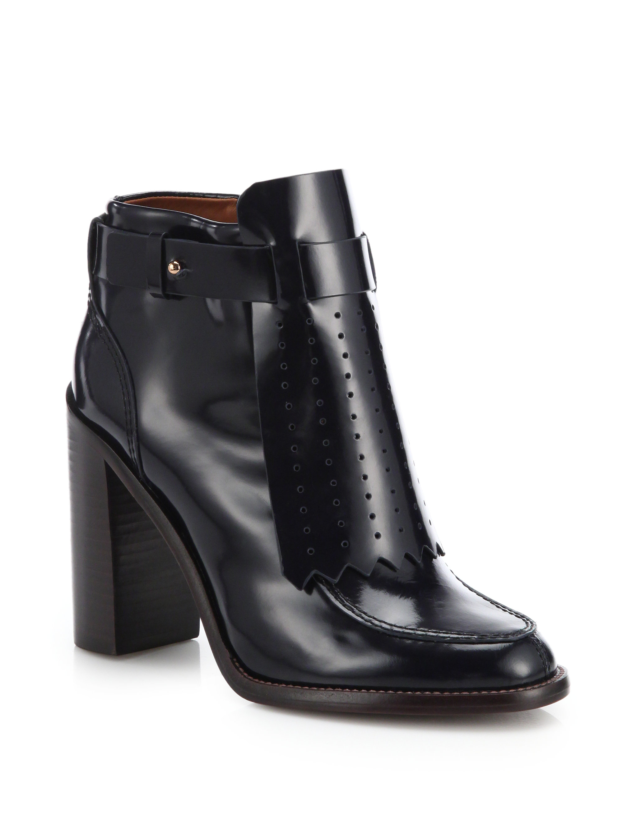 c52bdce76125d9 france lyst tory burch hyde leather perforated fringe ankle boots in black  7f06b d0e6d