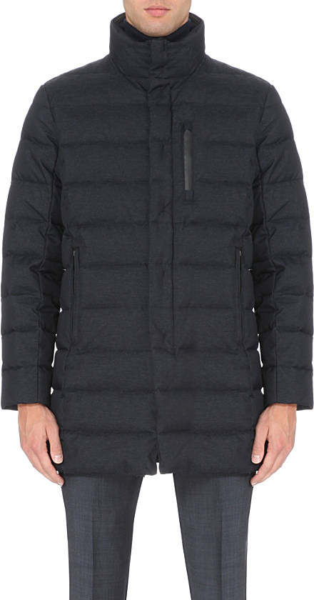 Armani Down Quilted Coat In Blue For Men Lyst