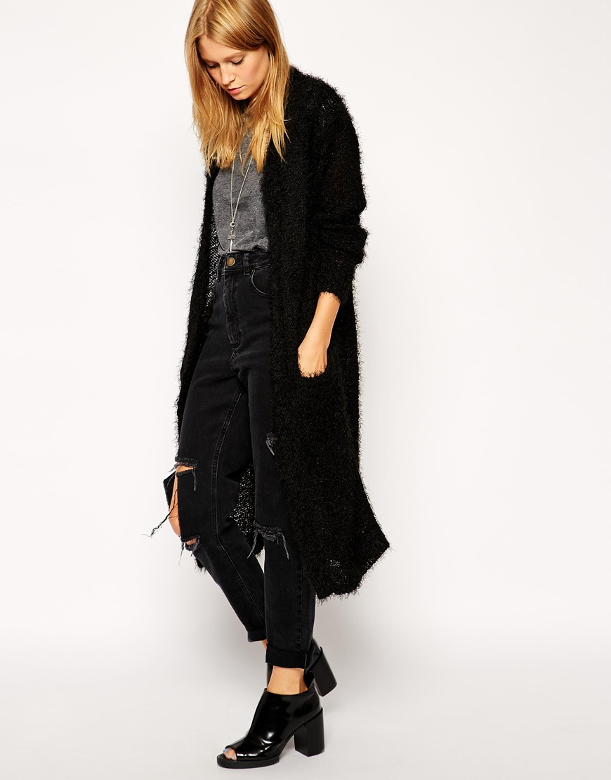 Asos Longline Cardigan In Fluffy Yarn in Black | Lyst