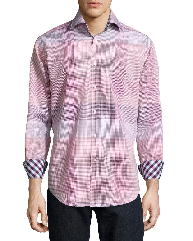 neiman plaid poplin sport shirt in purple for
