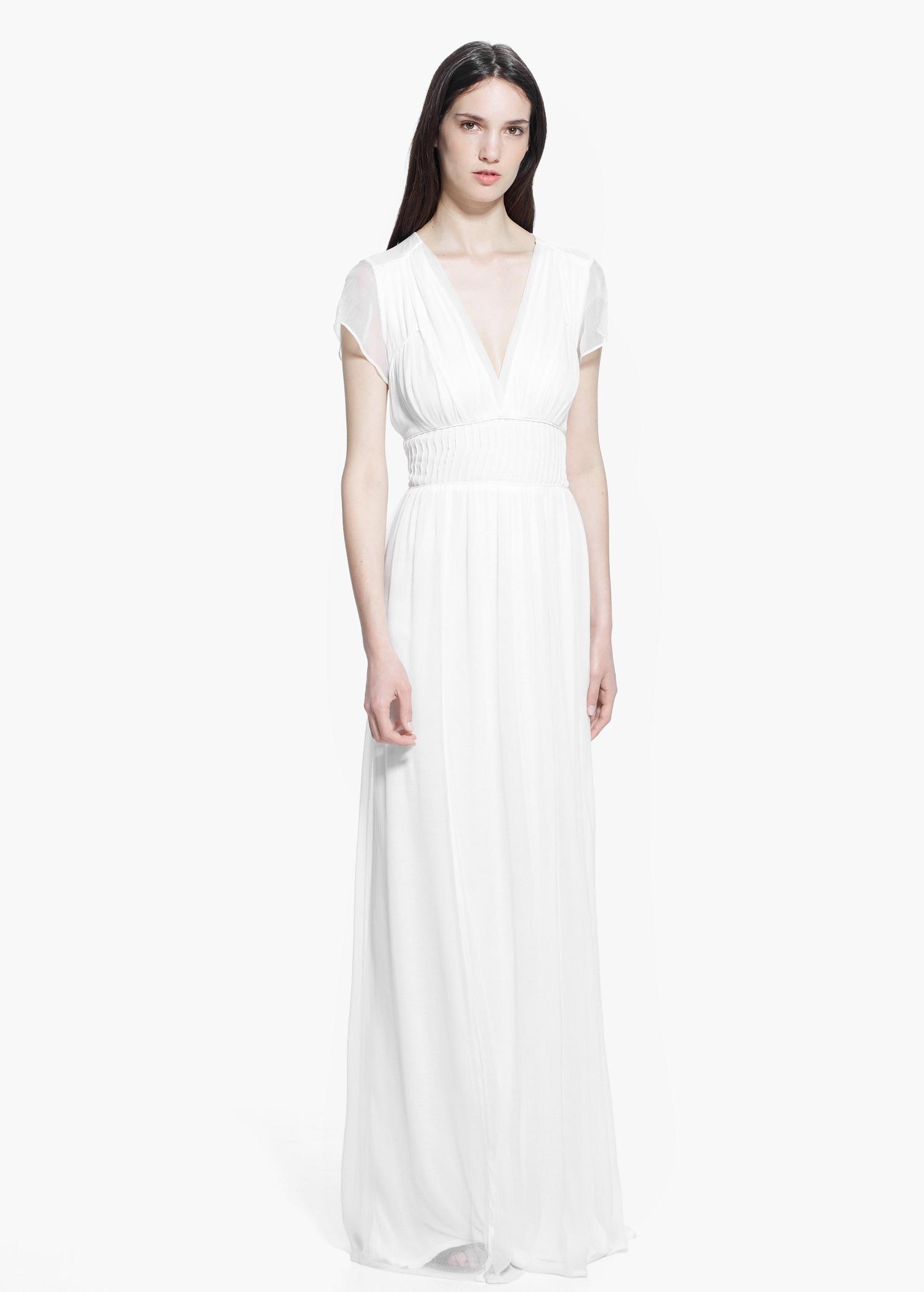 Mango Long Flowy Dress in White - Lyst