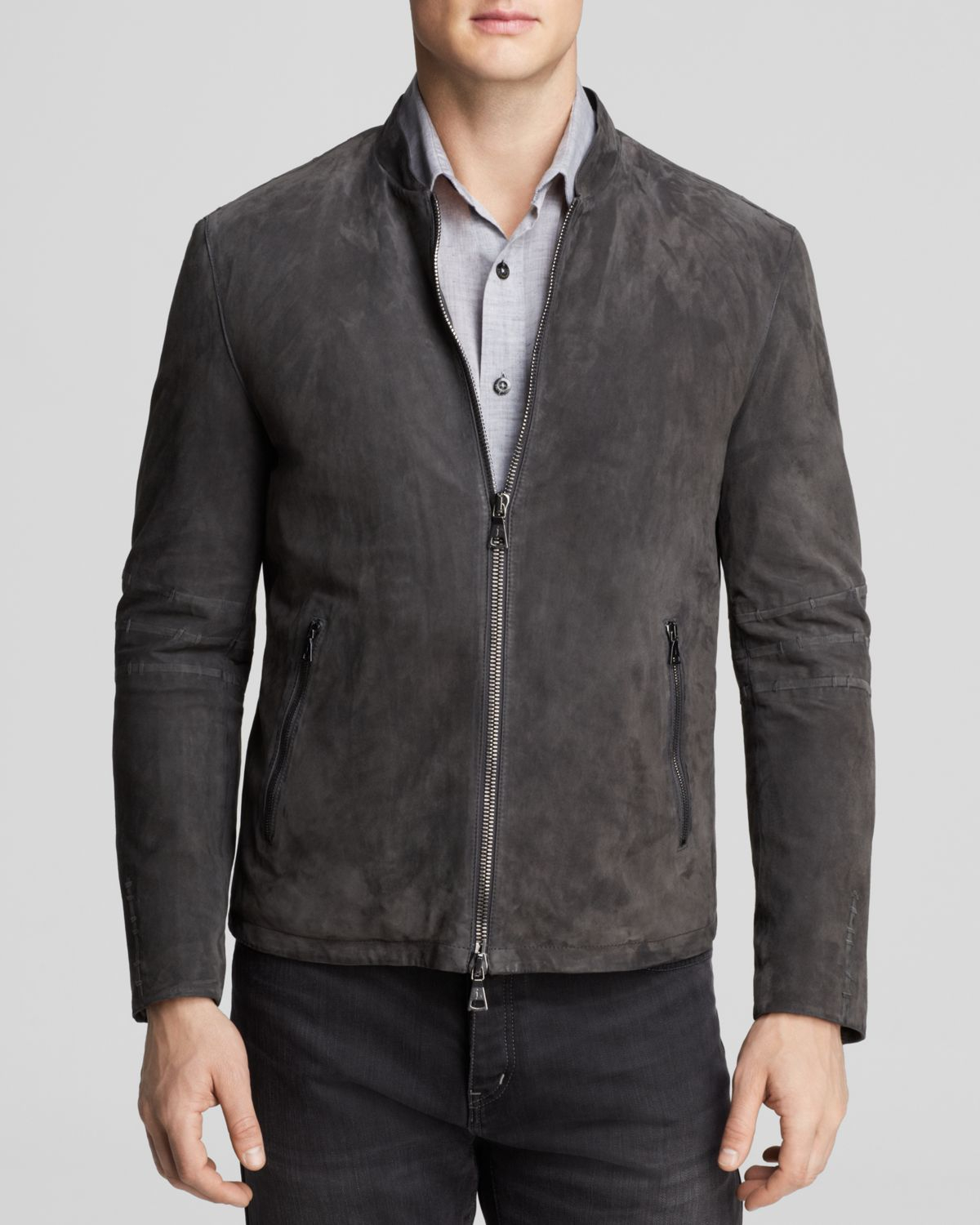 Suede Jacket Outfits For Men 20 Ways To Wear A Suede Jacket: John Varvatos Collection Zip Suede Jacket In Gray