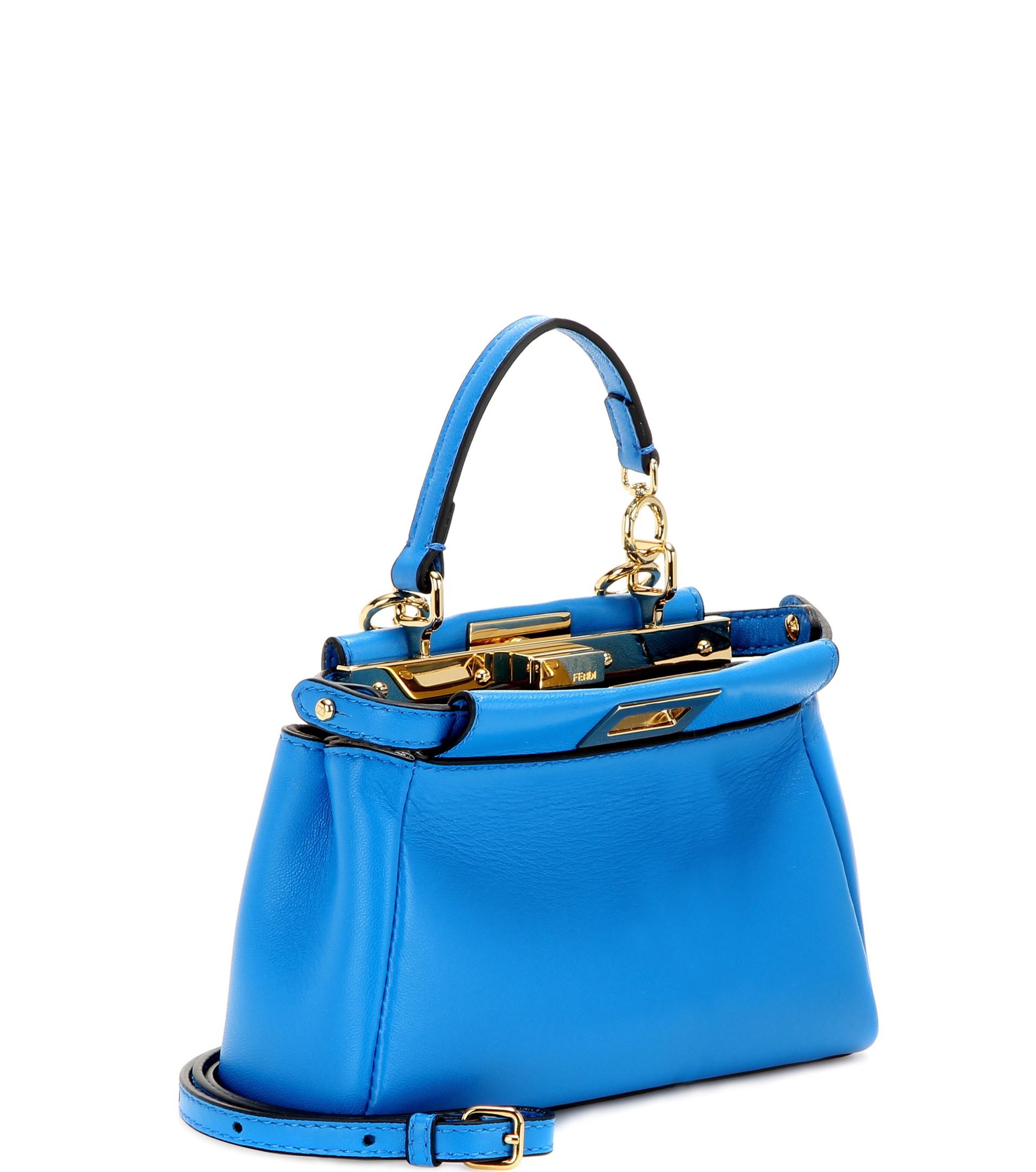 87753d4306 Lyst - Fendi Micro Peekaboo Leather Shoulder Bag in Blue