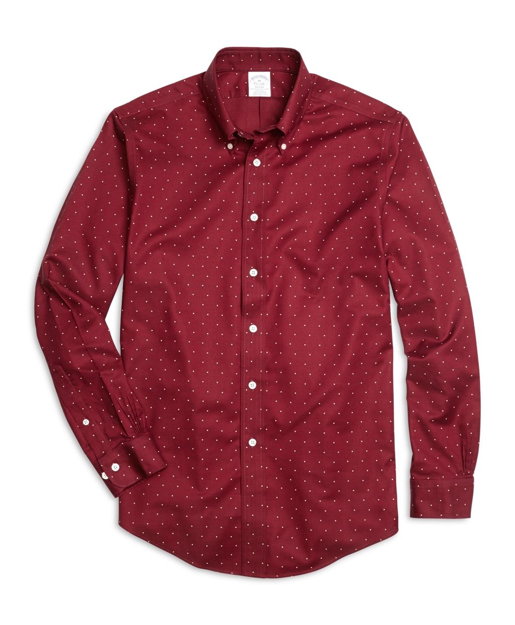 Lyst brooks brothers regent fit dot print sport shirt in for Brooks brothers sports shirts
