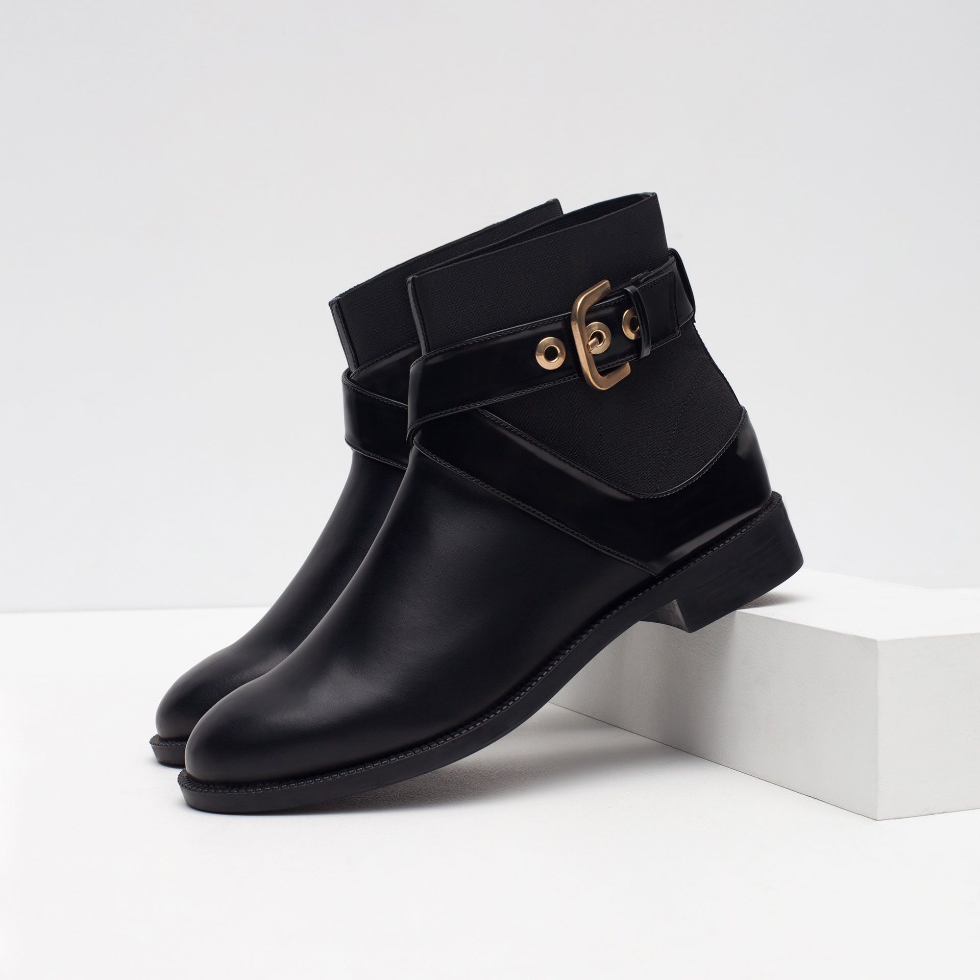 zara flat ankle boots with buckle in black lyst