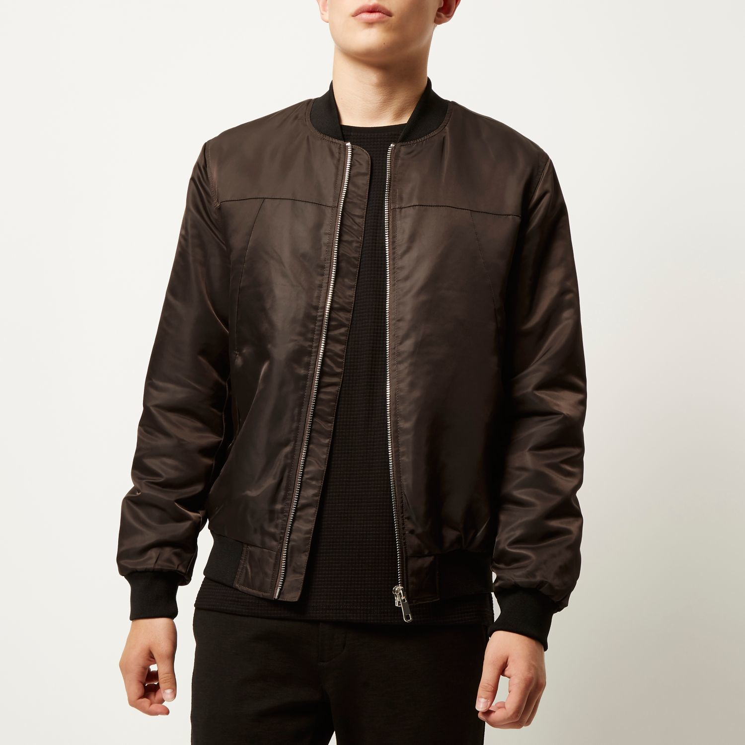 River island Dark Brown Casual Bomber Jacket in Brown for Men | Lyst