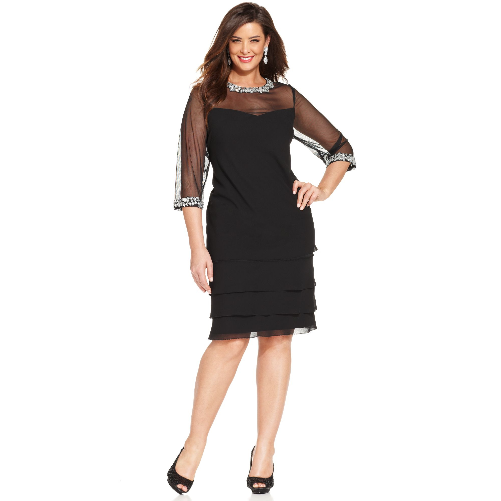 Alex evenings Plus Size Embellished Tiered Illusion Dress in Black ...