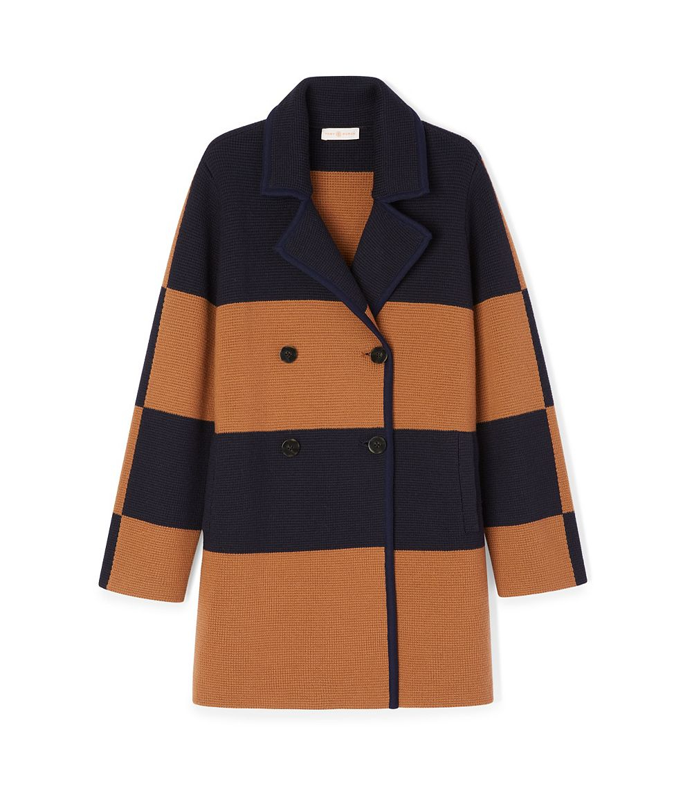 Tory burch Merino Wool Coat in Blue | Lyst