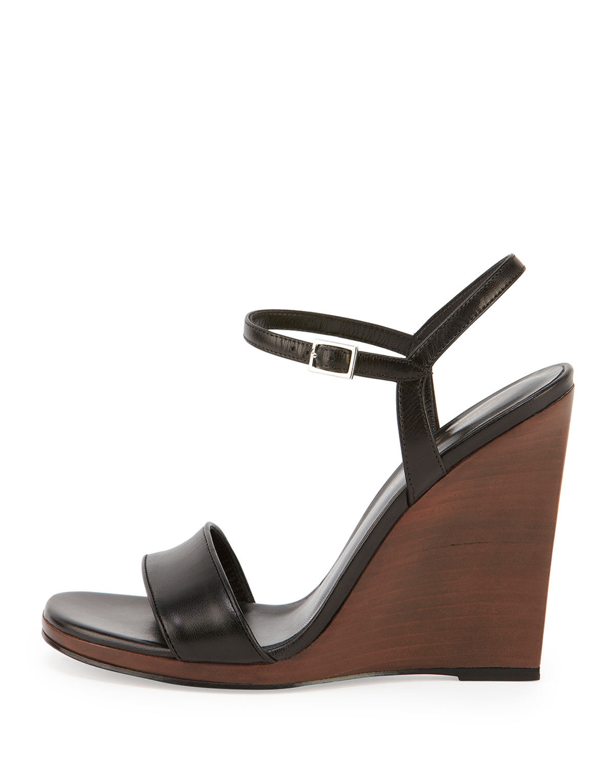3eb4cce9cee8 Lyst - Saint Laurent Jane Wooden Wedge Sandals in Brown