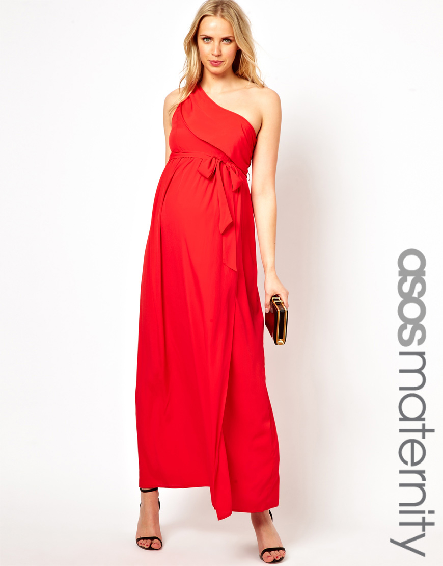 Asos exclusive one shoulder maxi dress in red lyst gallery ombrellifo Image collections