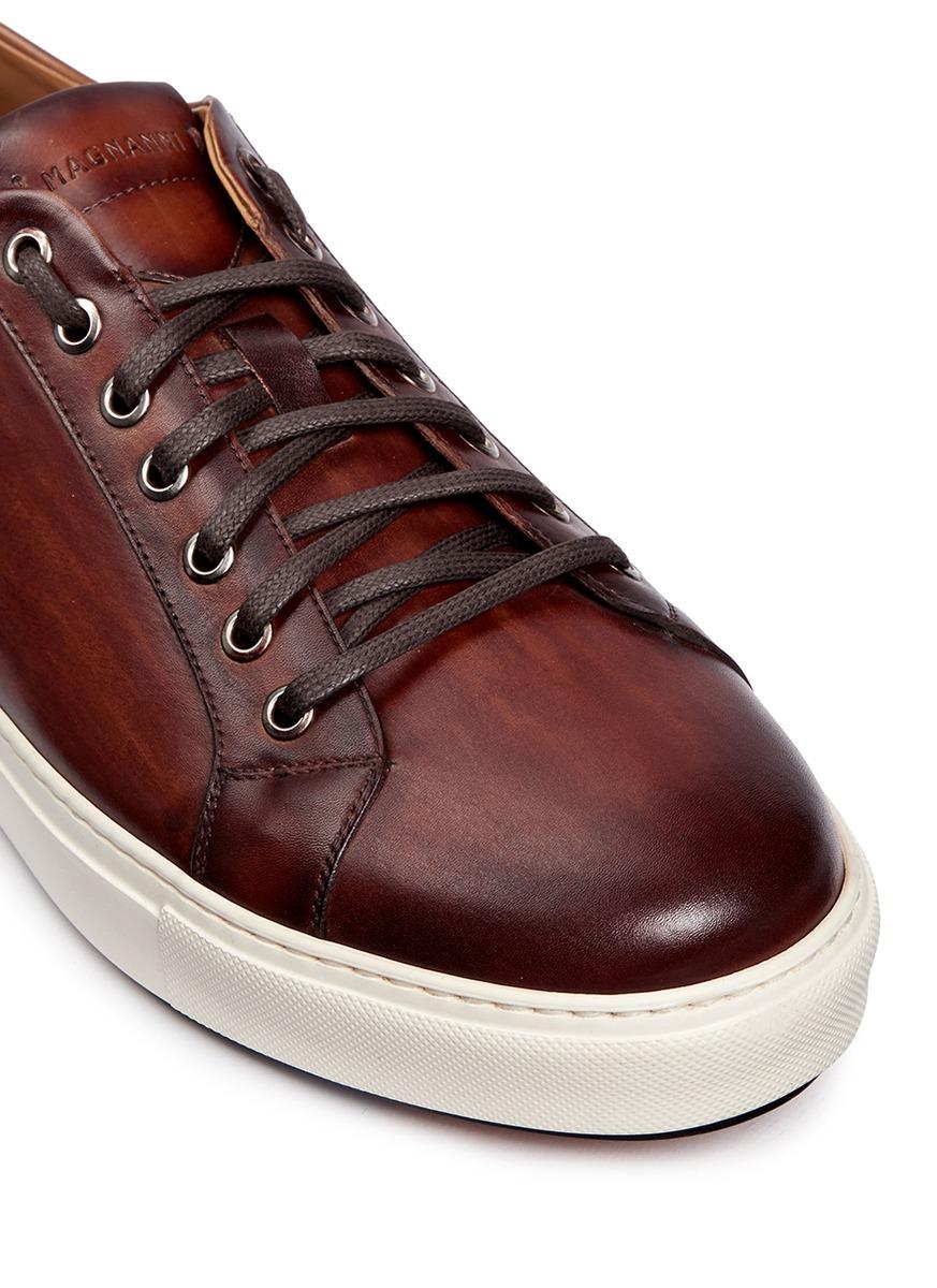 saks fifth avenue dye seven eyelet leather sneakers