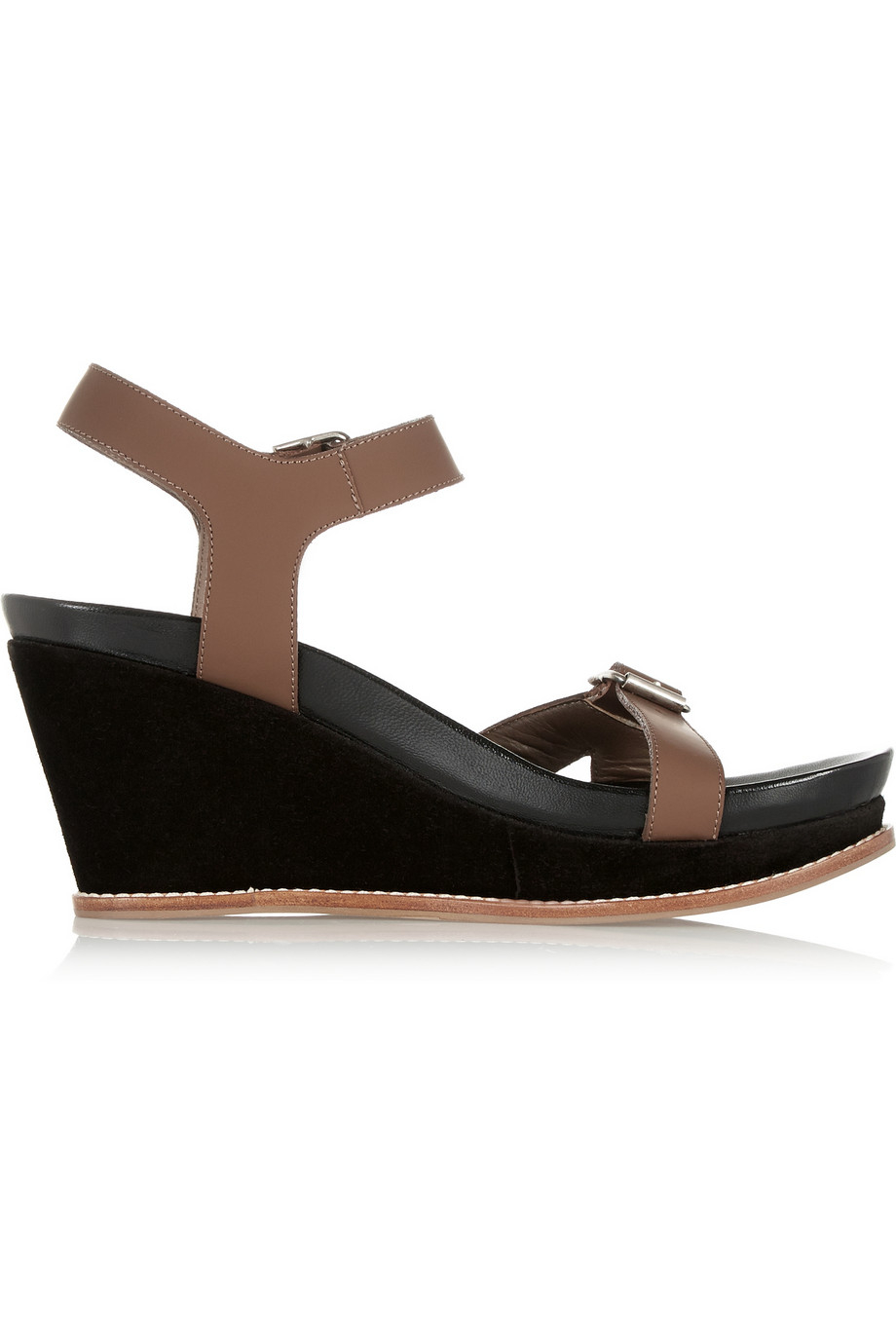 marni leather wedge sandals in brown lyst