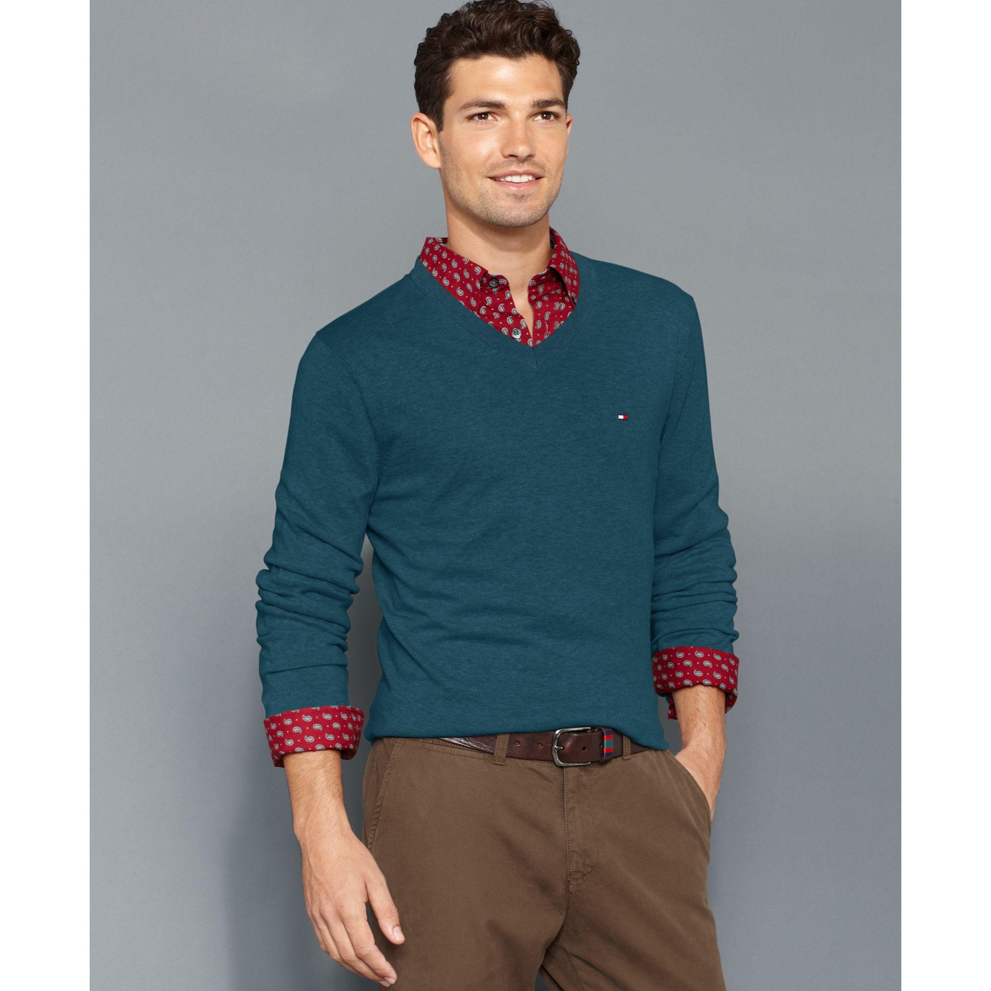 tommy hilfiger american vneck sweater in blue for men lyst. Black Bedroom Furniture Sets. Home Design Ideas
