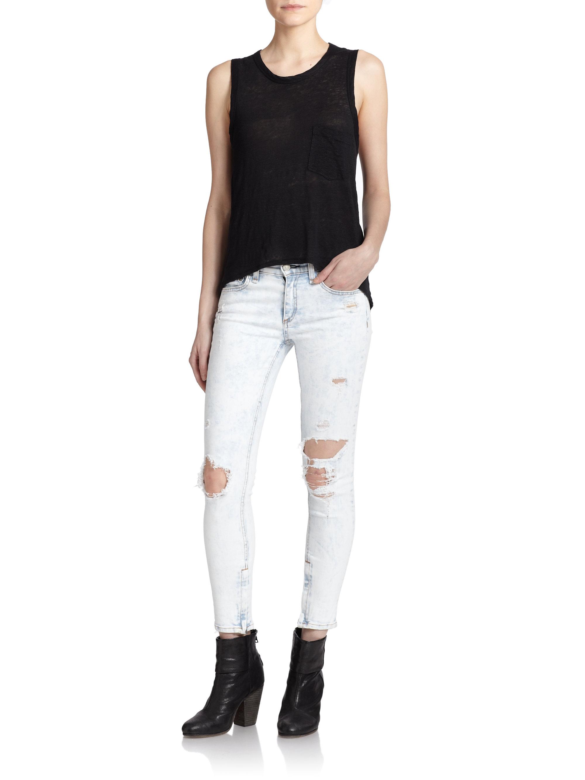 Rag & bone Distressed Bleached Ankle Skinny Jeans in Blue | Lyst