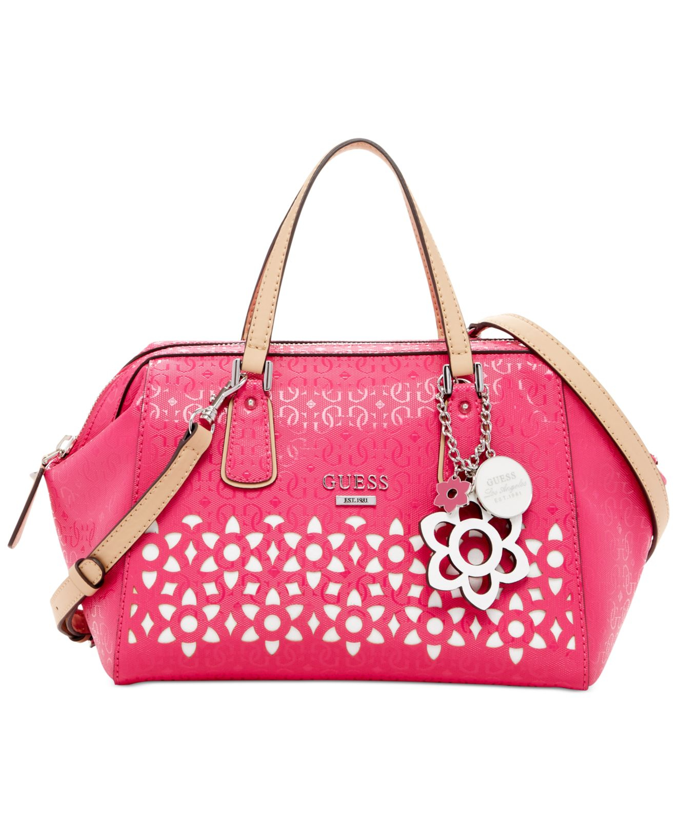 Guess Bianco Nero Frame Satchel in Pink | Lyst