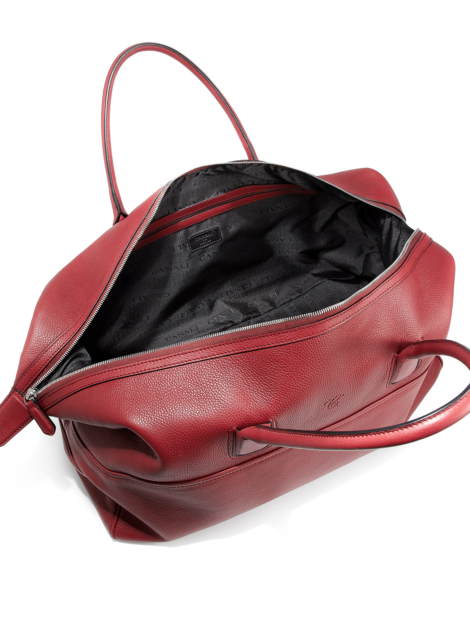 99ee043f3 Canali Leather Duffle Bag in Red for Men - Lyst